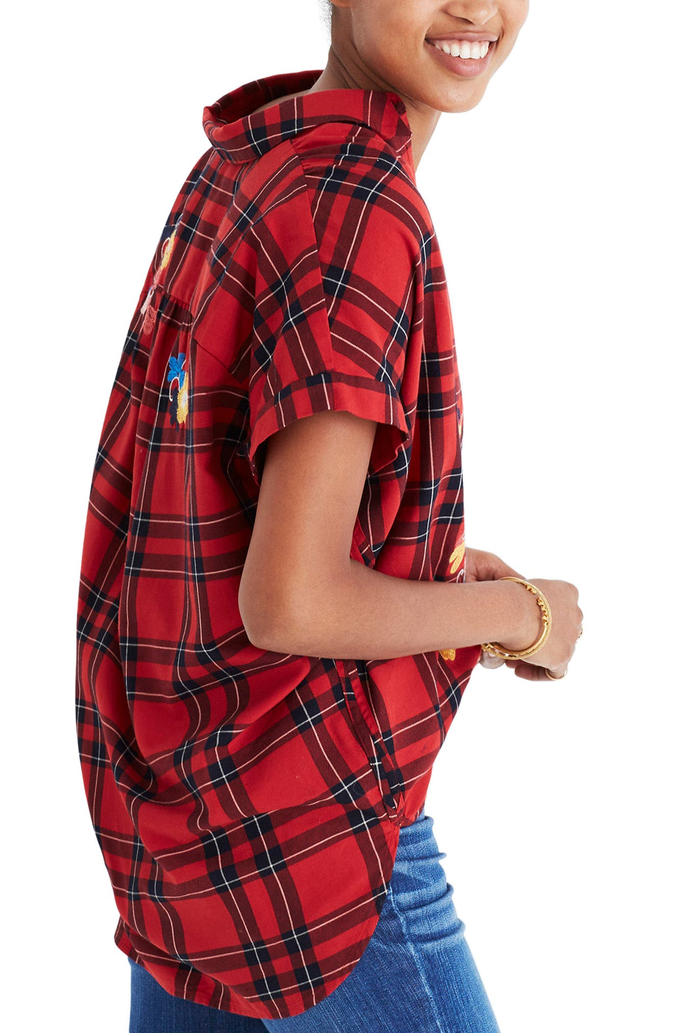 Central Embroidered Plaid Shirt,                             Alternate thumbnail 2, color,                             600