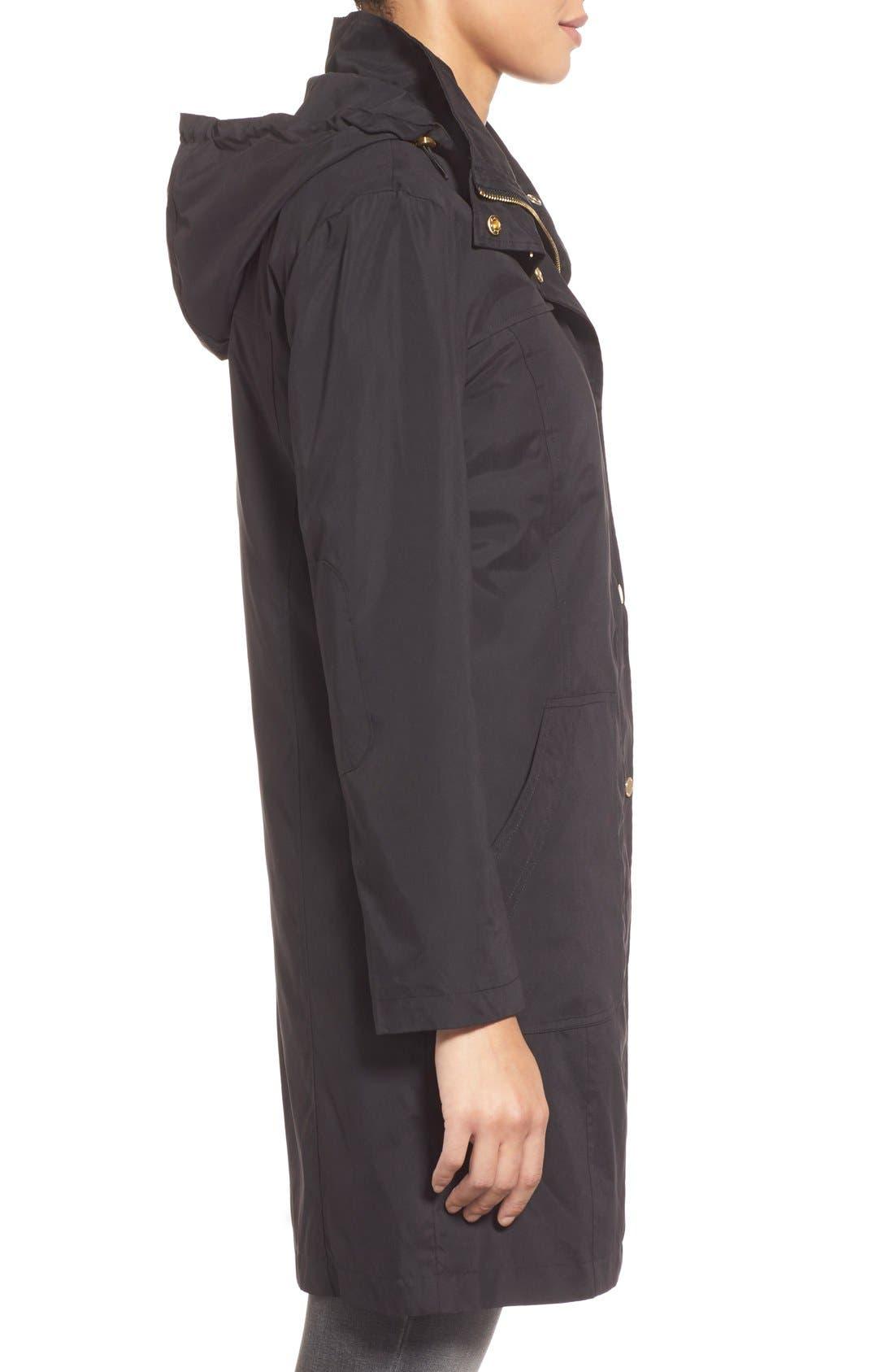A-Line Raincoat with Detachable Hood,                             Alternate thumbnail 3, color,                             001