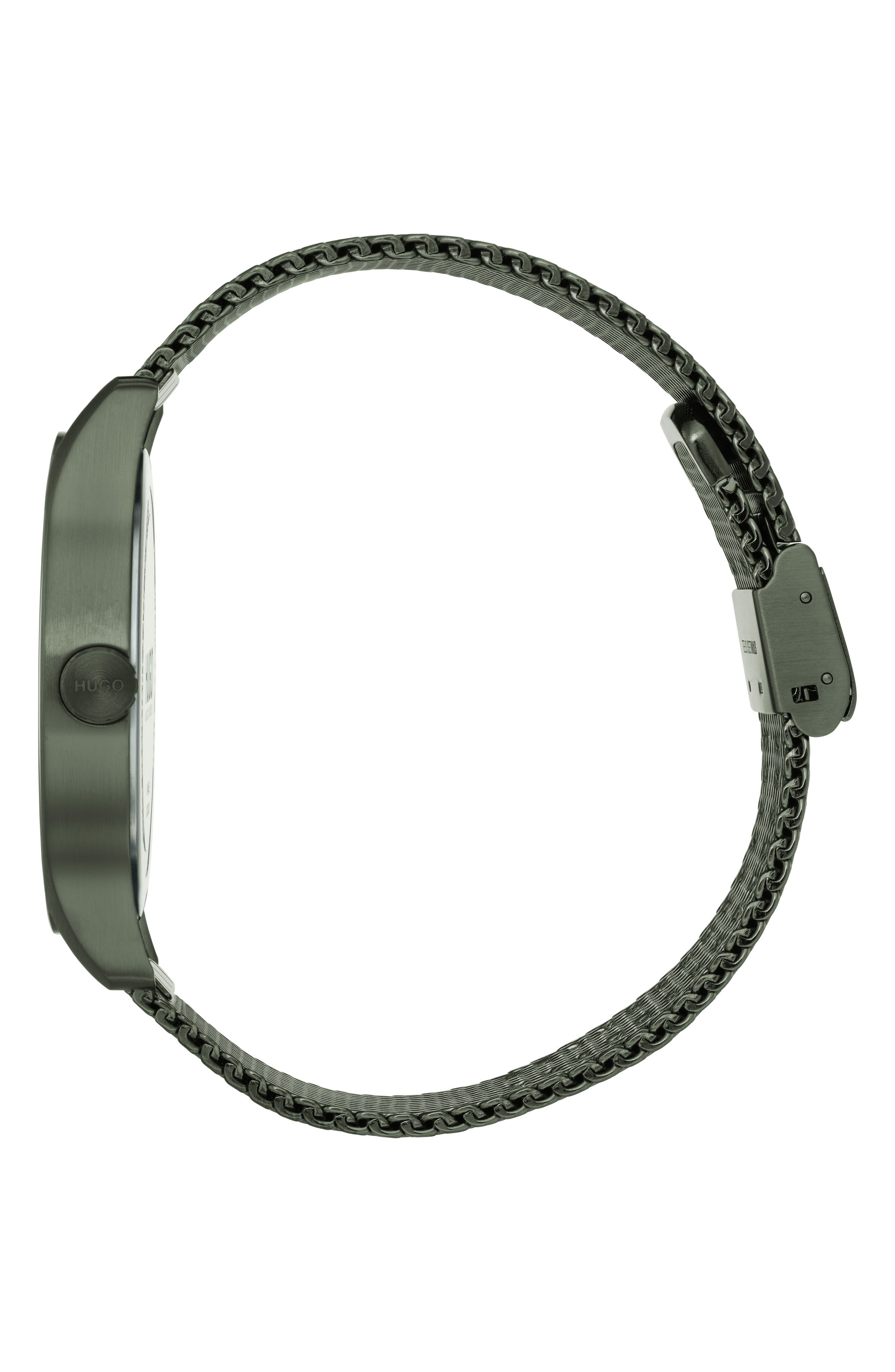 Move Mesh Strap Watch, 42mm,                             Alternate thumbnail 3, color,                             OLIVE GREEN/GREY