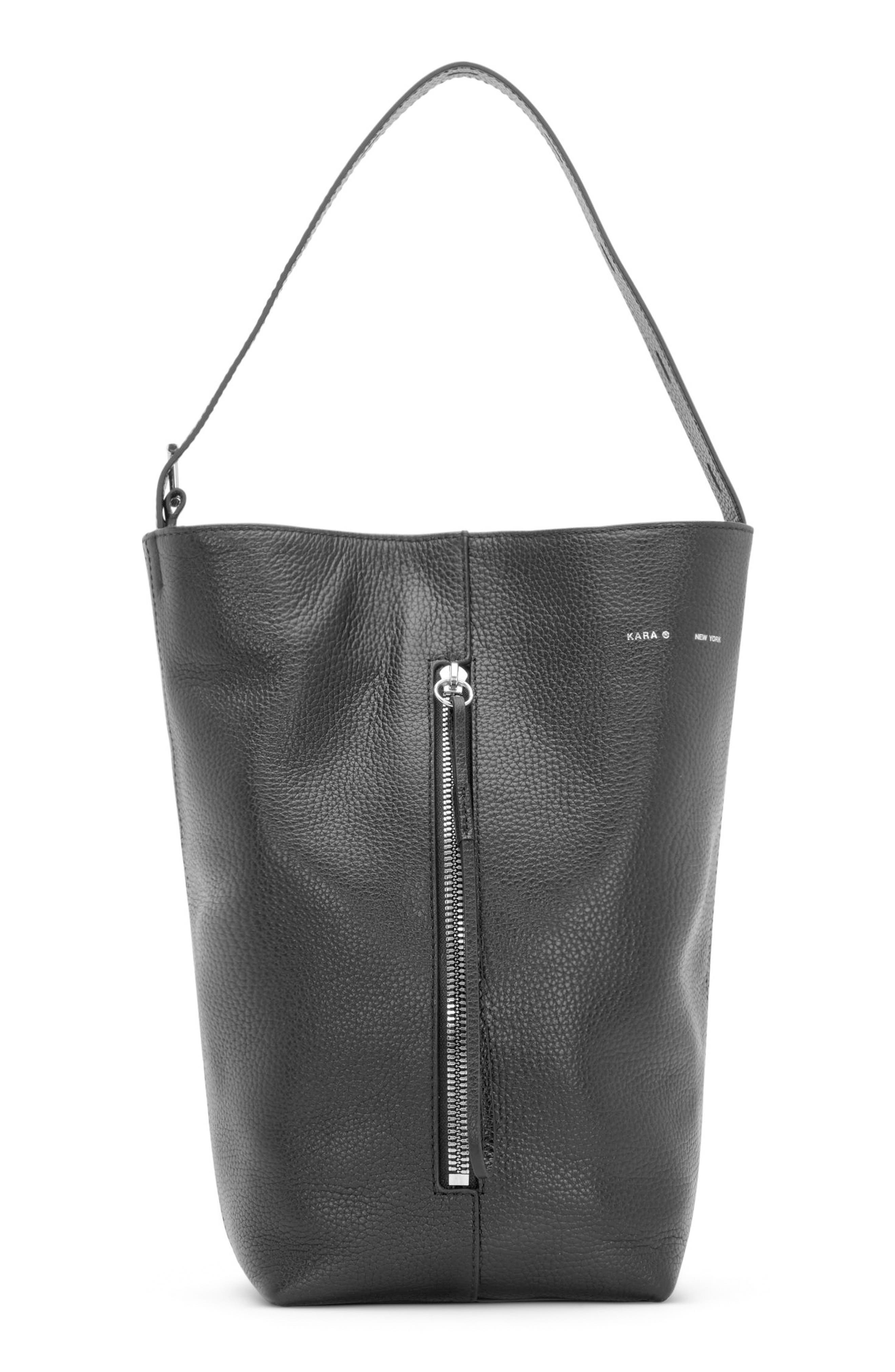 Pebbled Leather Panel Pail Convertible Leather Bucket Bag,                             Alternate thumbnail 7, color,                             001