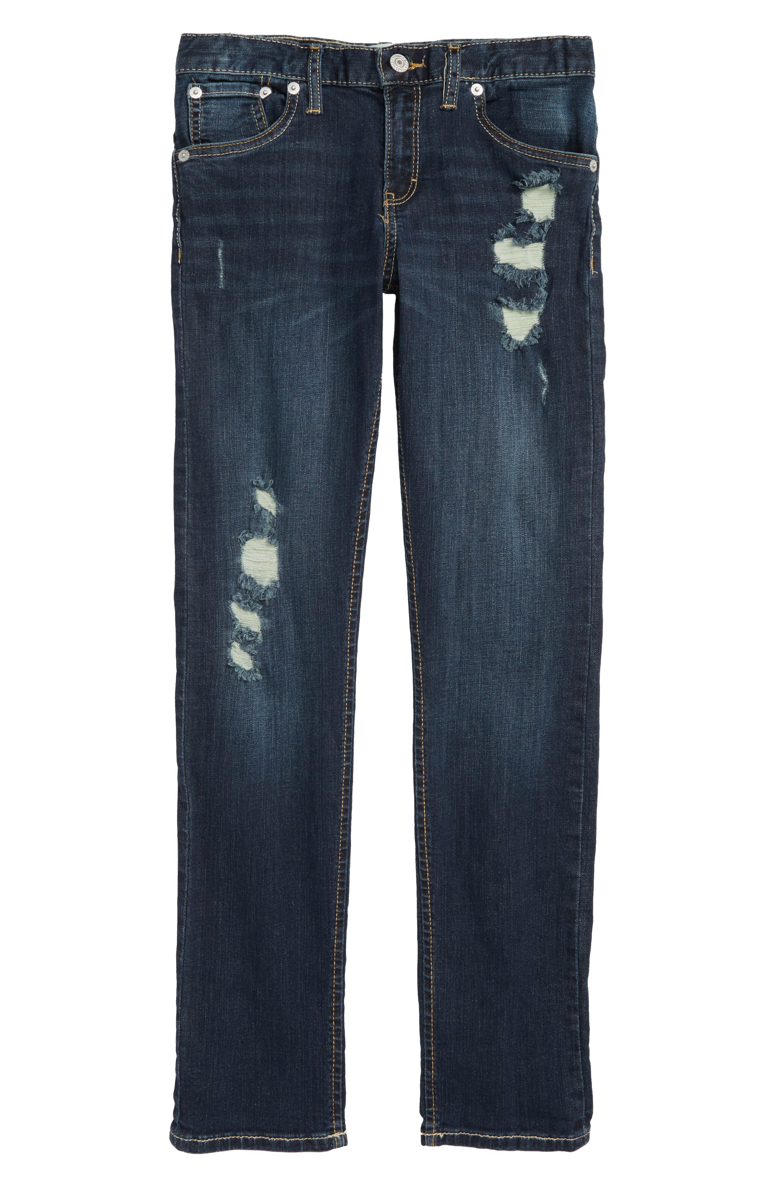 505C<sup>™</sup> Ripped Skinny Jeans,                             Main thumbnail 1, color,                             BLUE ASPHALT