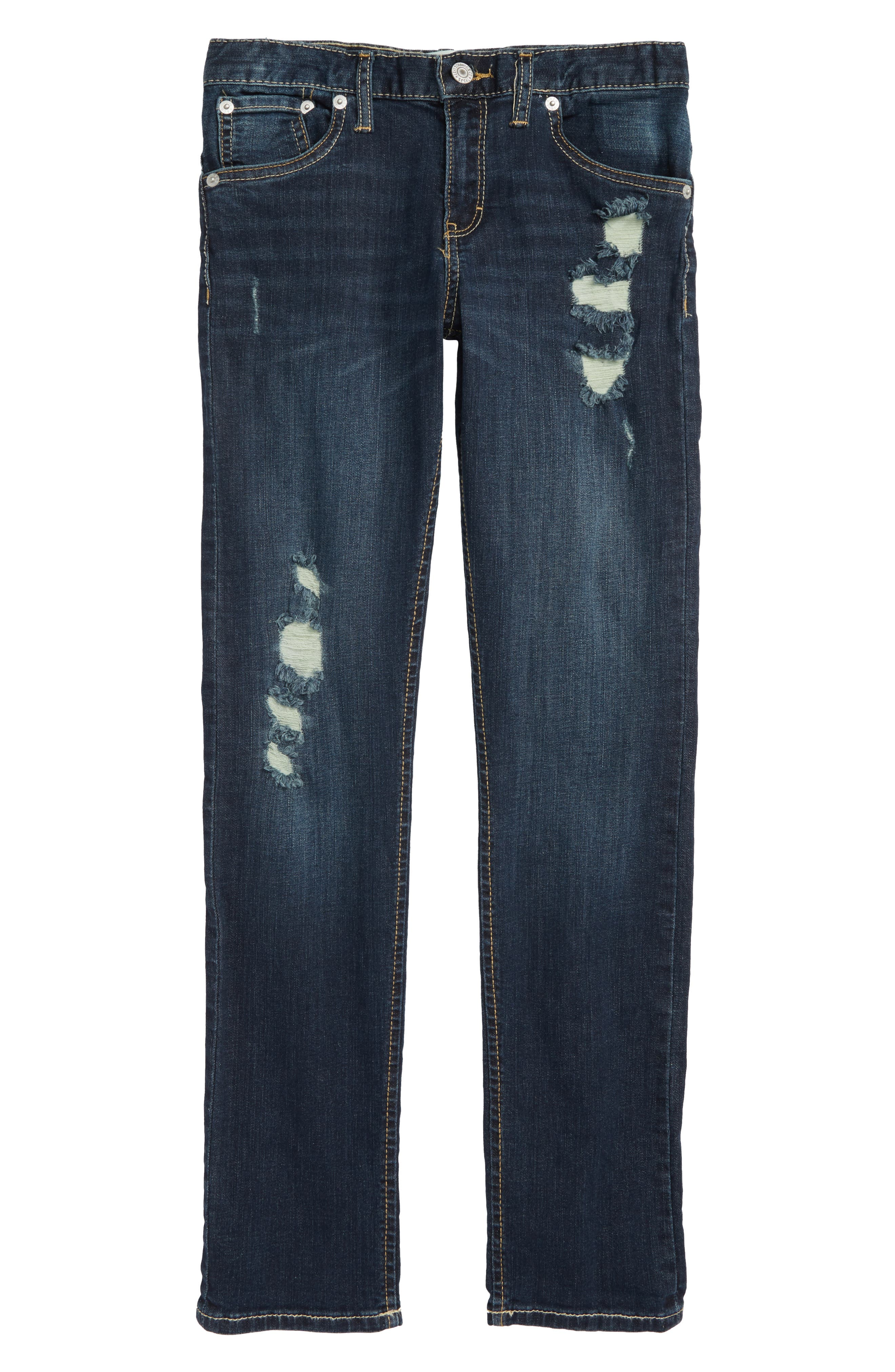 505C<sup>™</sup> Ripped Skinny Jeans,                         Main,                         color, BLUE ASPHALT