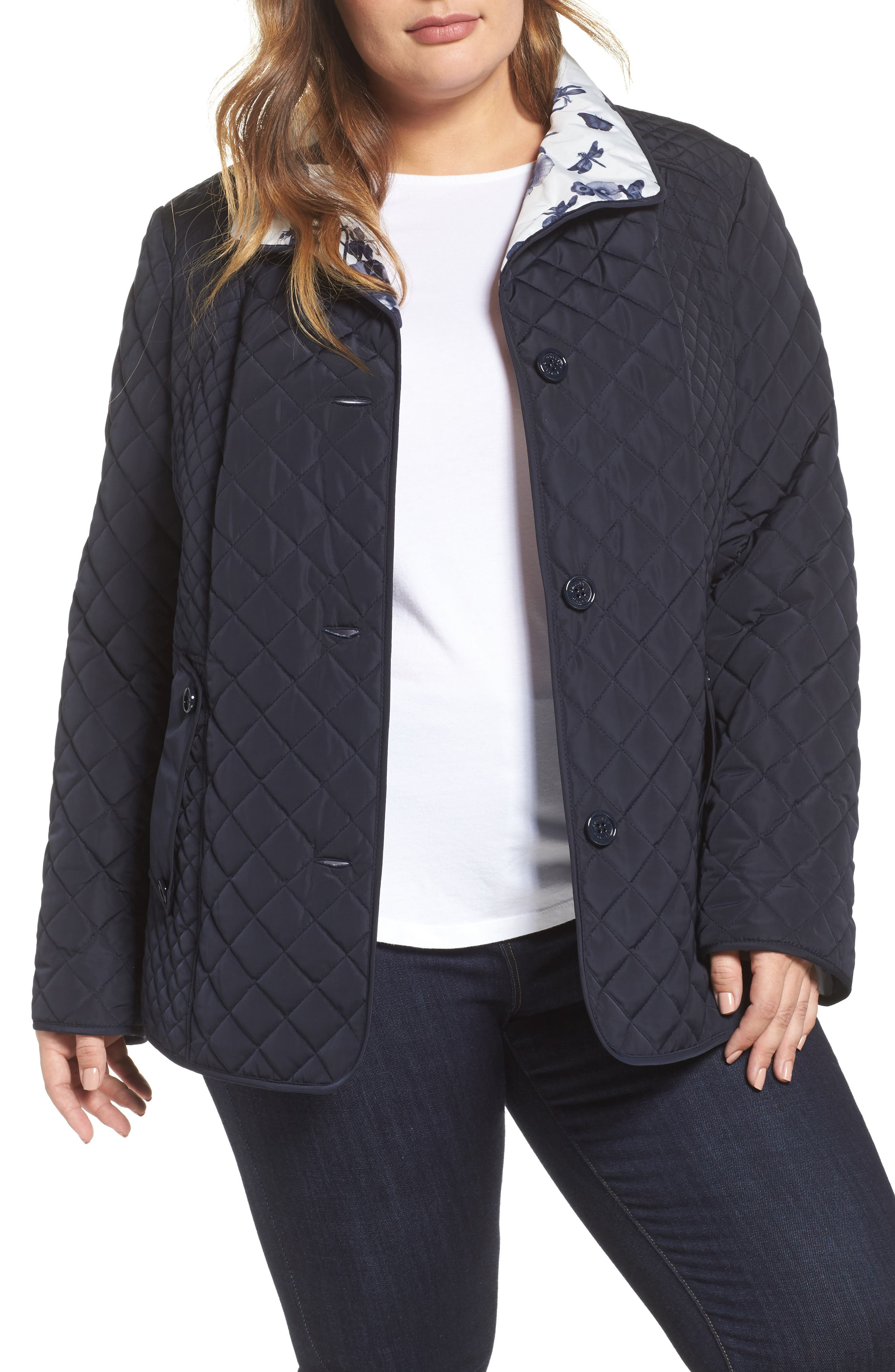 Print Collar Quilted Jacket,                             Main thumbnail 1, color,                             410