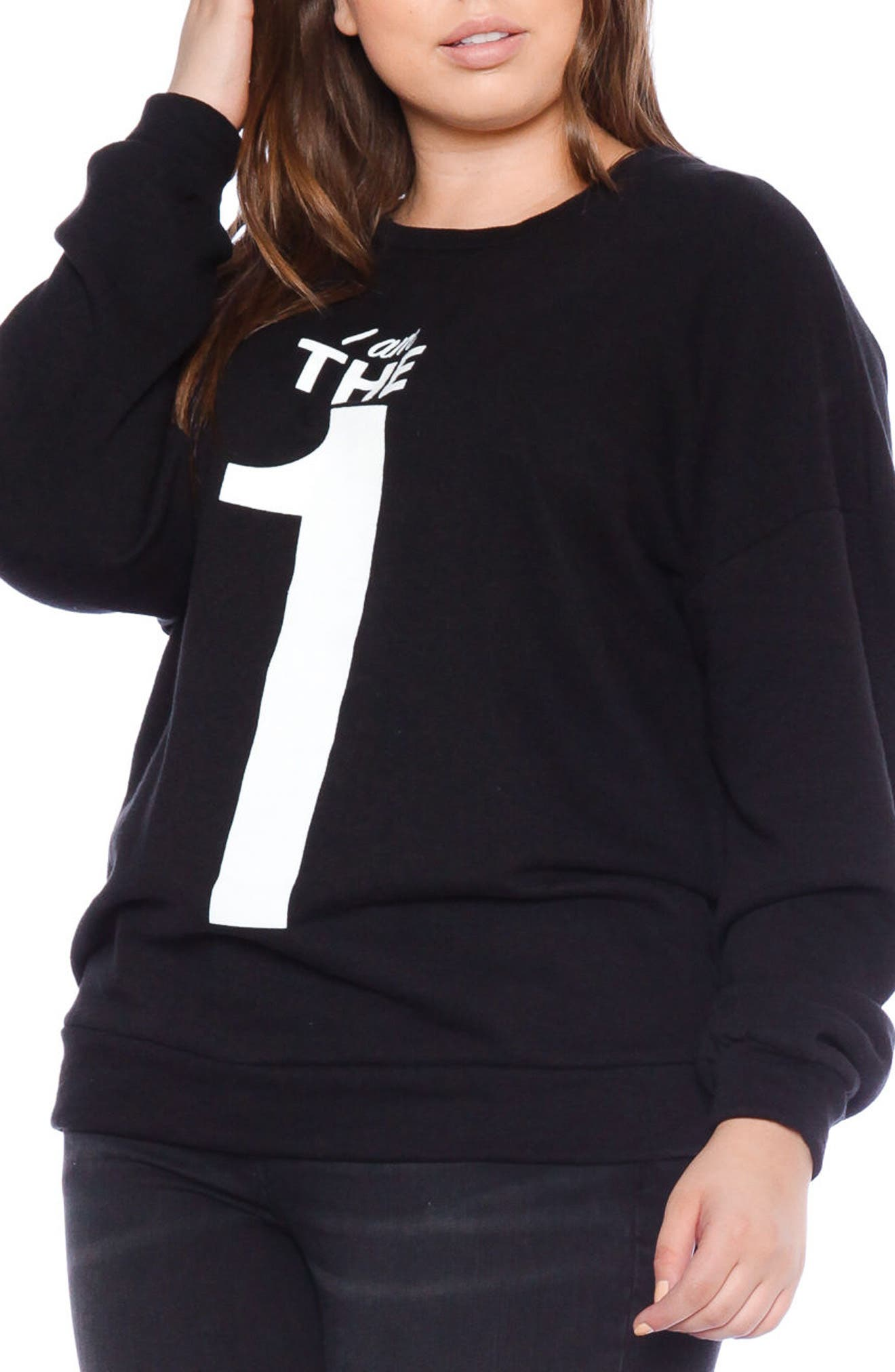 SLINK JEANS,                             I Am the One Oversize Sweatshirt,                             Alternate thumbnail 3, color,                             BLACK