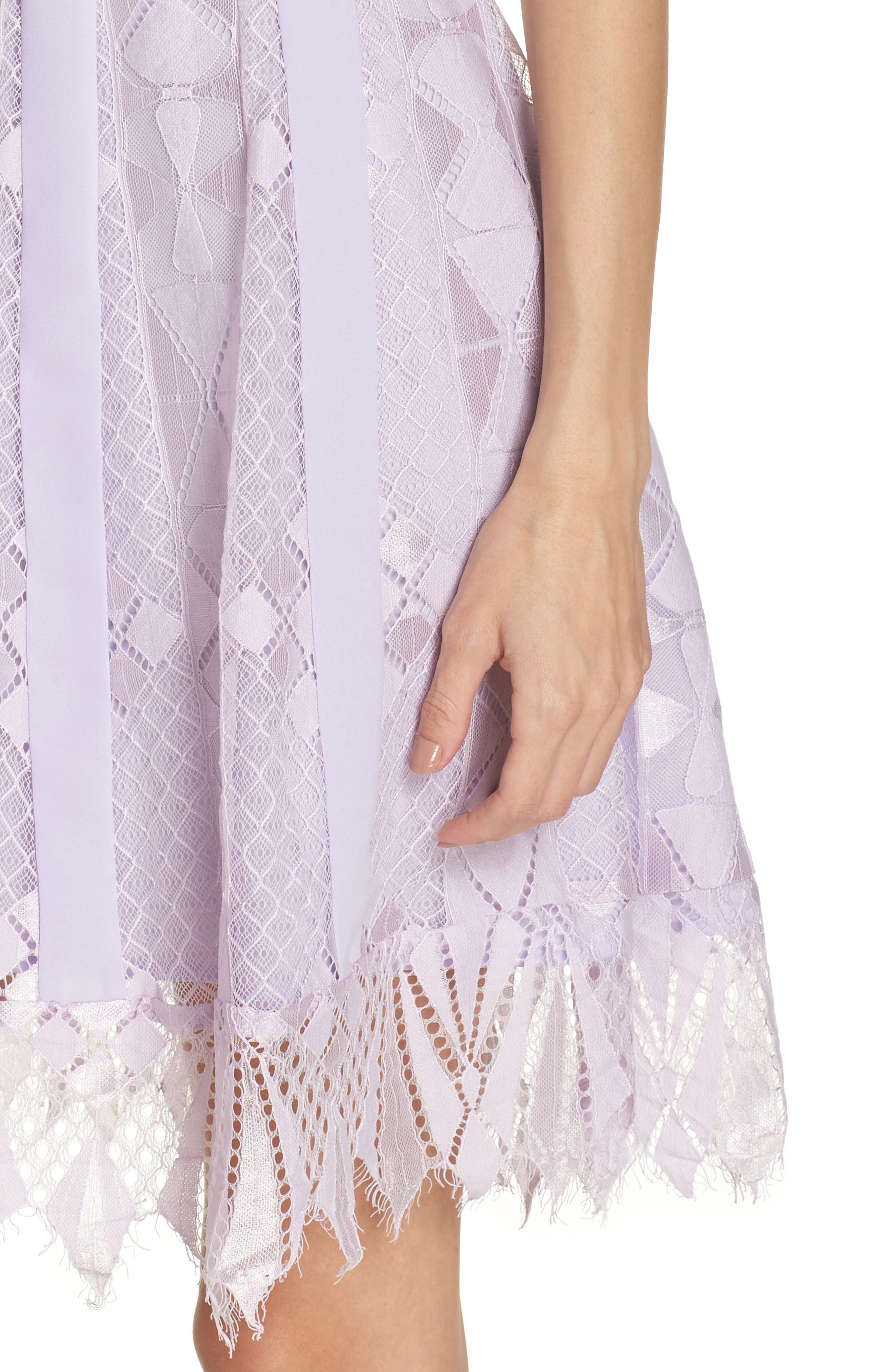 Florence Lace Fit & Flare Dress,                             Alternate thumbnail 4, color,                             LILAC