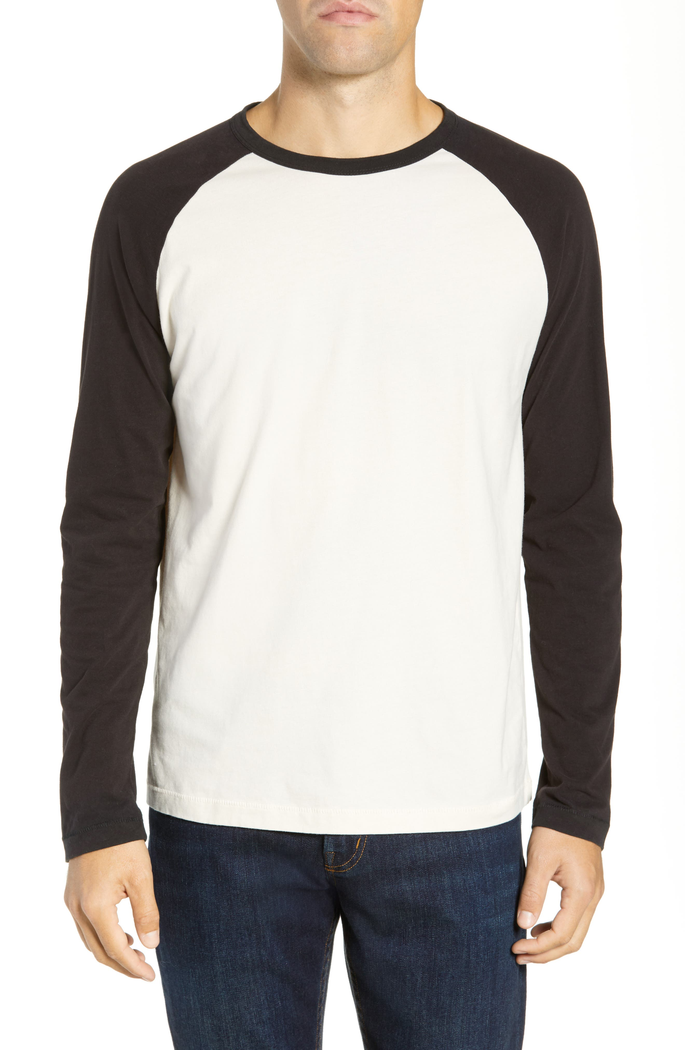 French Connection Contrast Sleeve Regular Fit Cotton T-Shirt, Grey