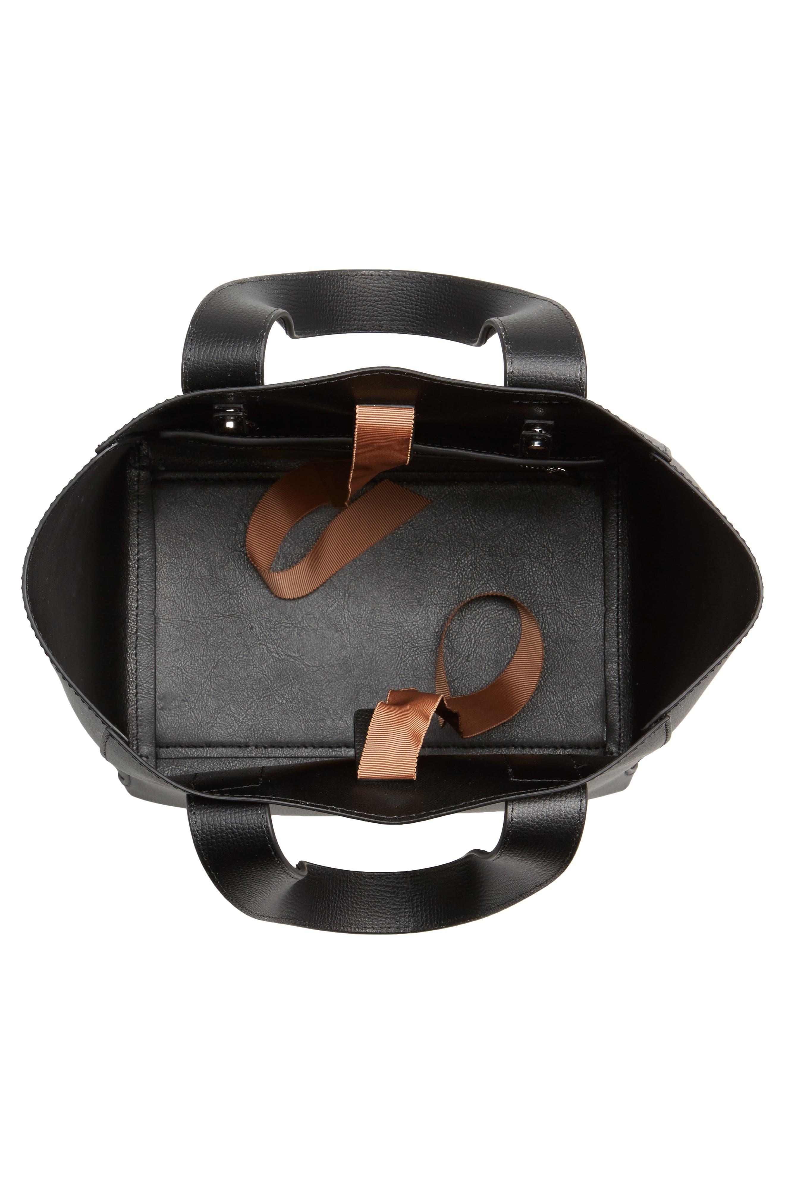 Ribbon Tie Leather Top Handle Shopper,                             Alternate thumbnail 4, color,                             008