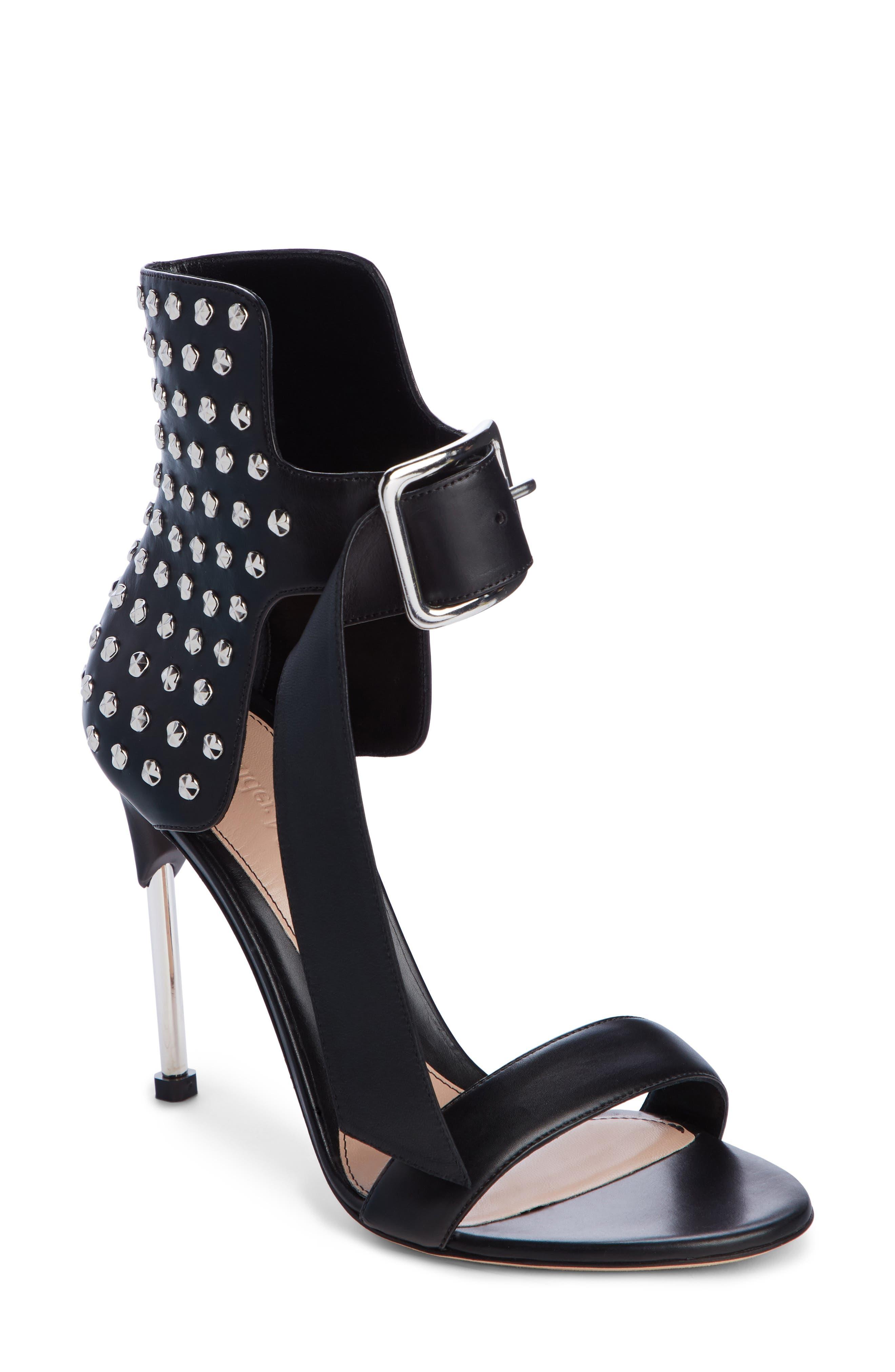 ALEXANDER MCQUEEN Studded Ankle Strap Sandal, Main, color, BLACK
