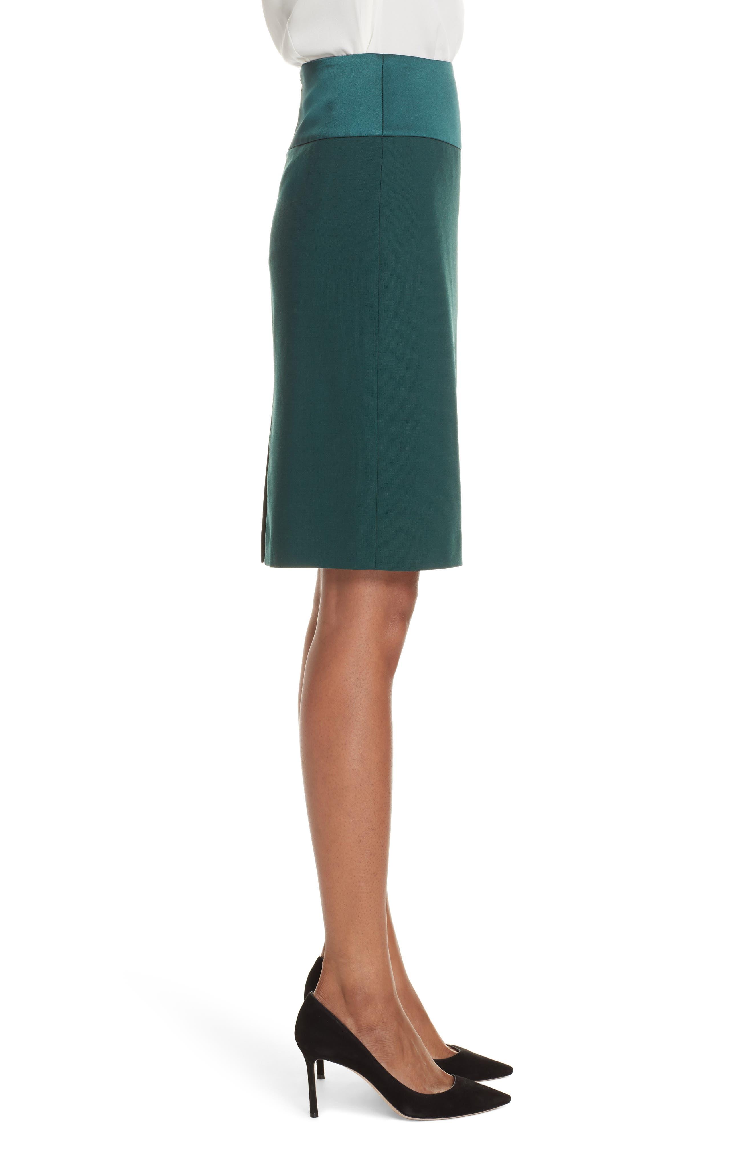 Vanufa Stretch Wool Suit Skirt,                             Alternate thumbnail 3, color,                             PINE GREEN