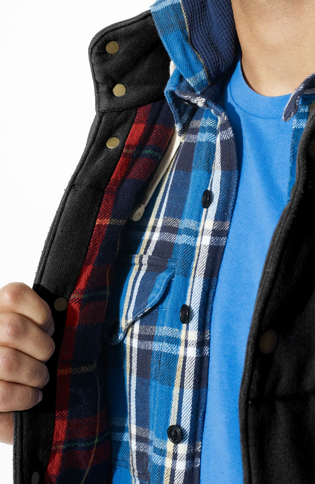 POLO RALPH LAUREN,                             Fleece Mock Neck Vest,                             Alternate thumbnail 2, color,                             001