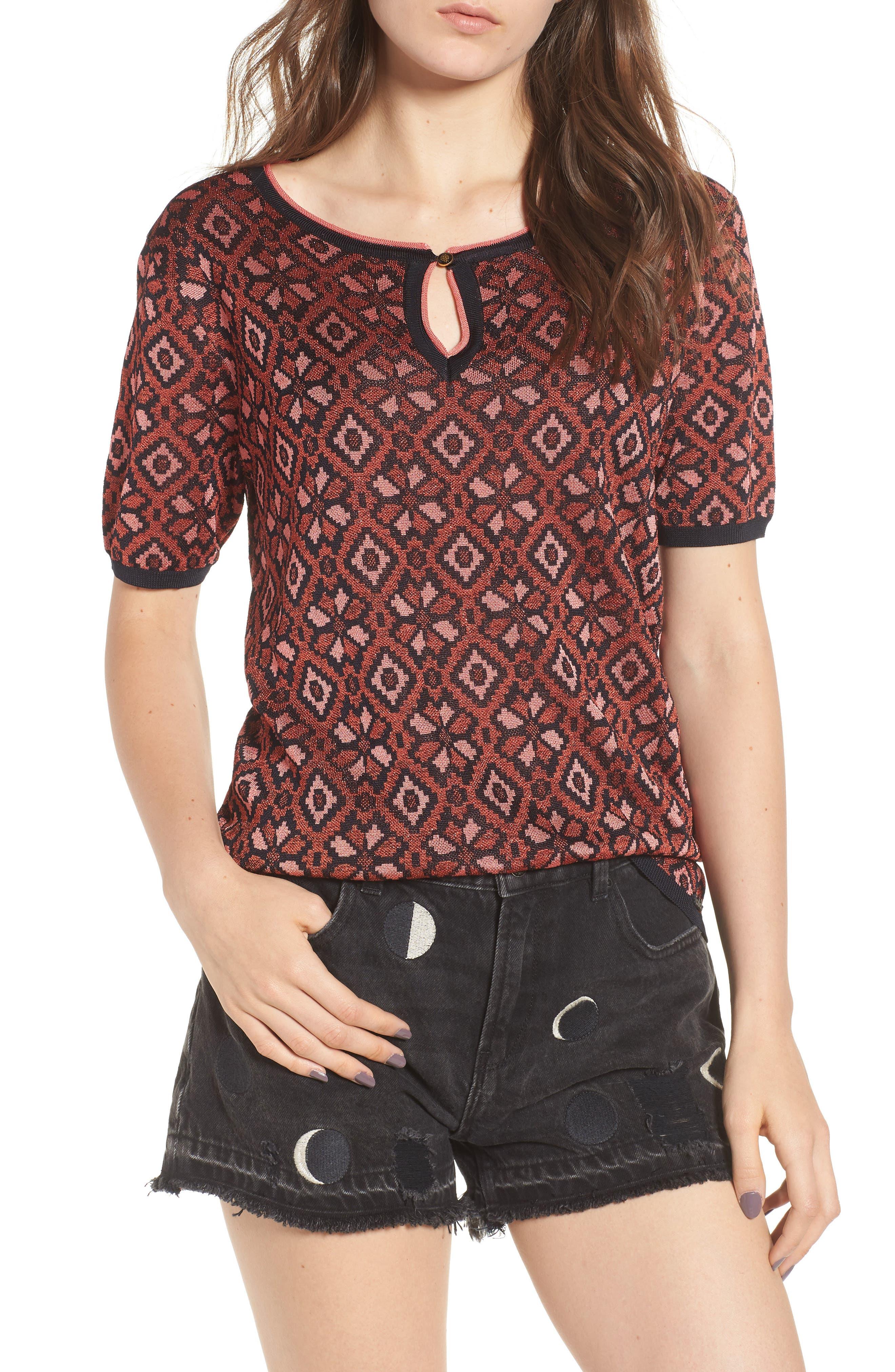 Tile Pattern Keyhole Sweater,                         Main,                         color, 600