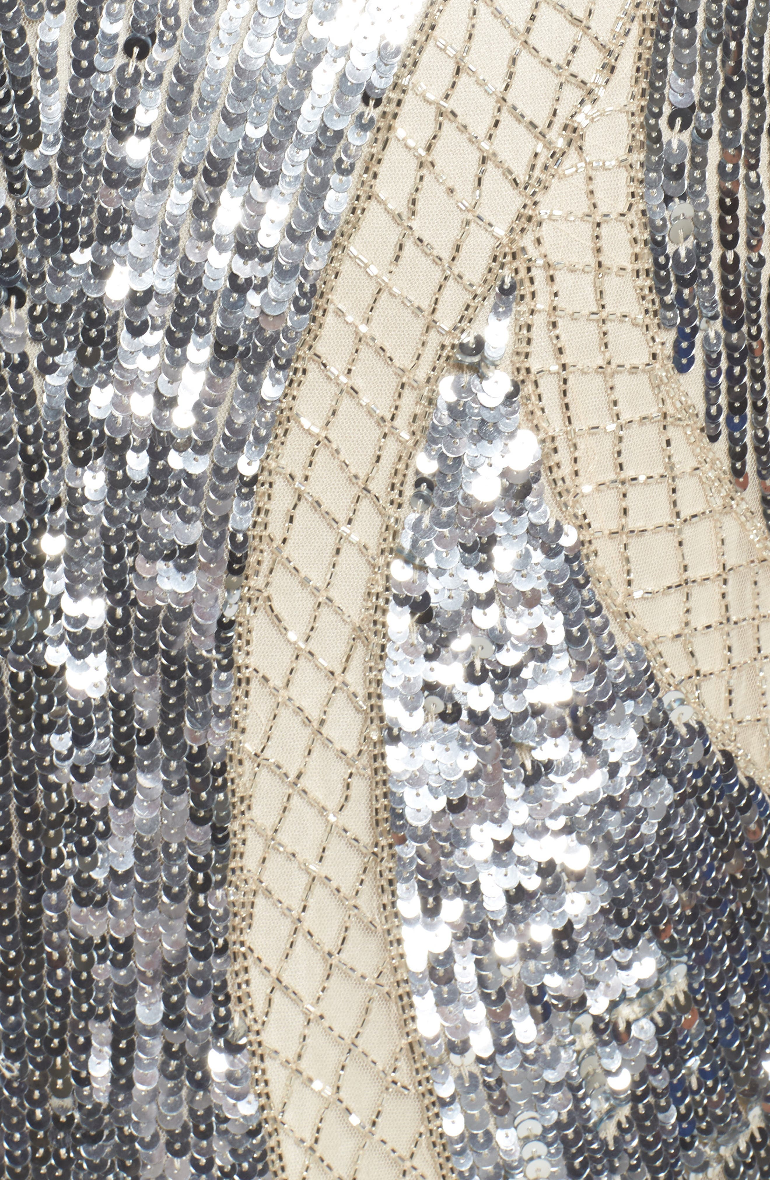 Jewel Neck Sequin Gown,                             Alternate thumbnail 5, color,                             SILVER/ NUDE