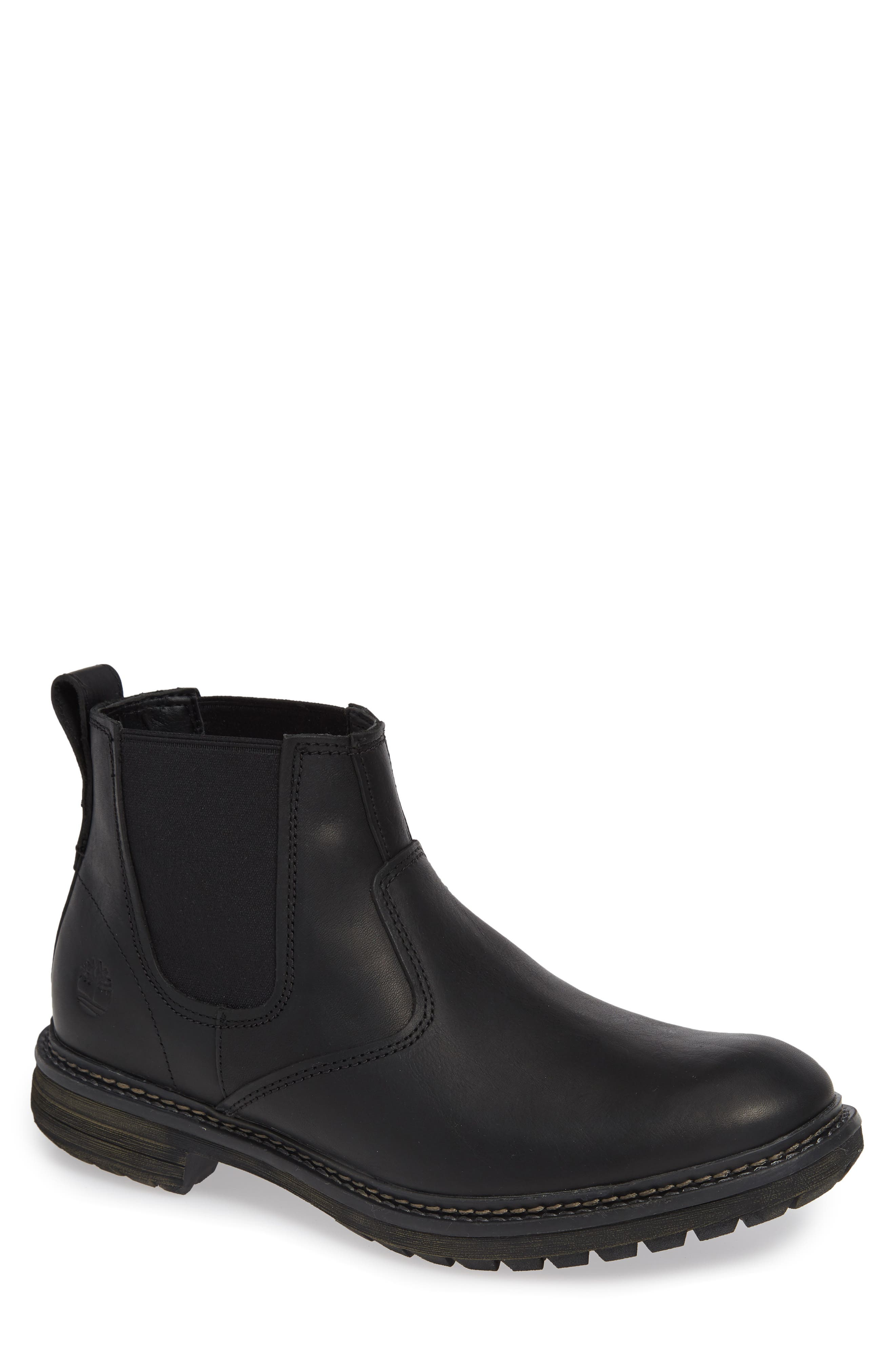 Logan Bay Water Resistant Chelsea Boot,                             Main thumbnail 1, color,                             BLACK LEATHER