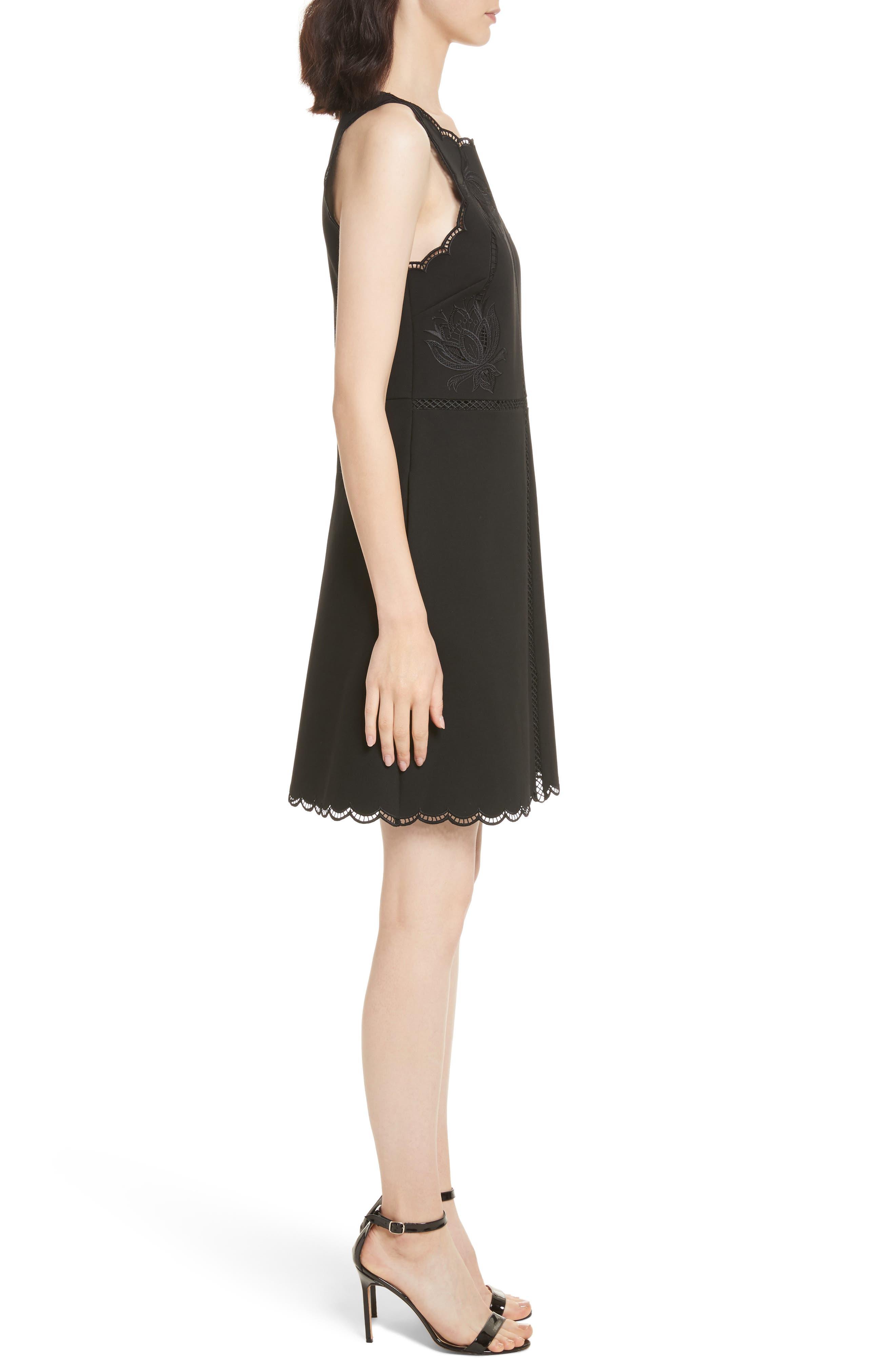 Codi Embroidered Scallop A-Line Dress,                             Alternate thumbnail 3, color,                             001