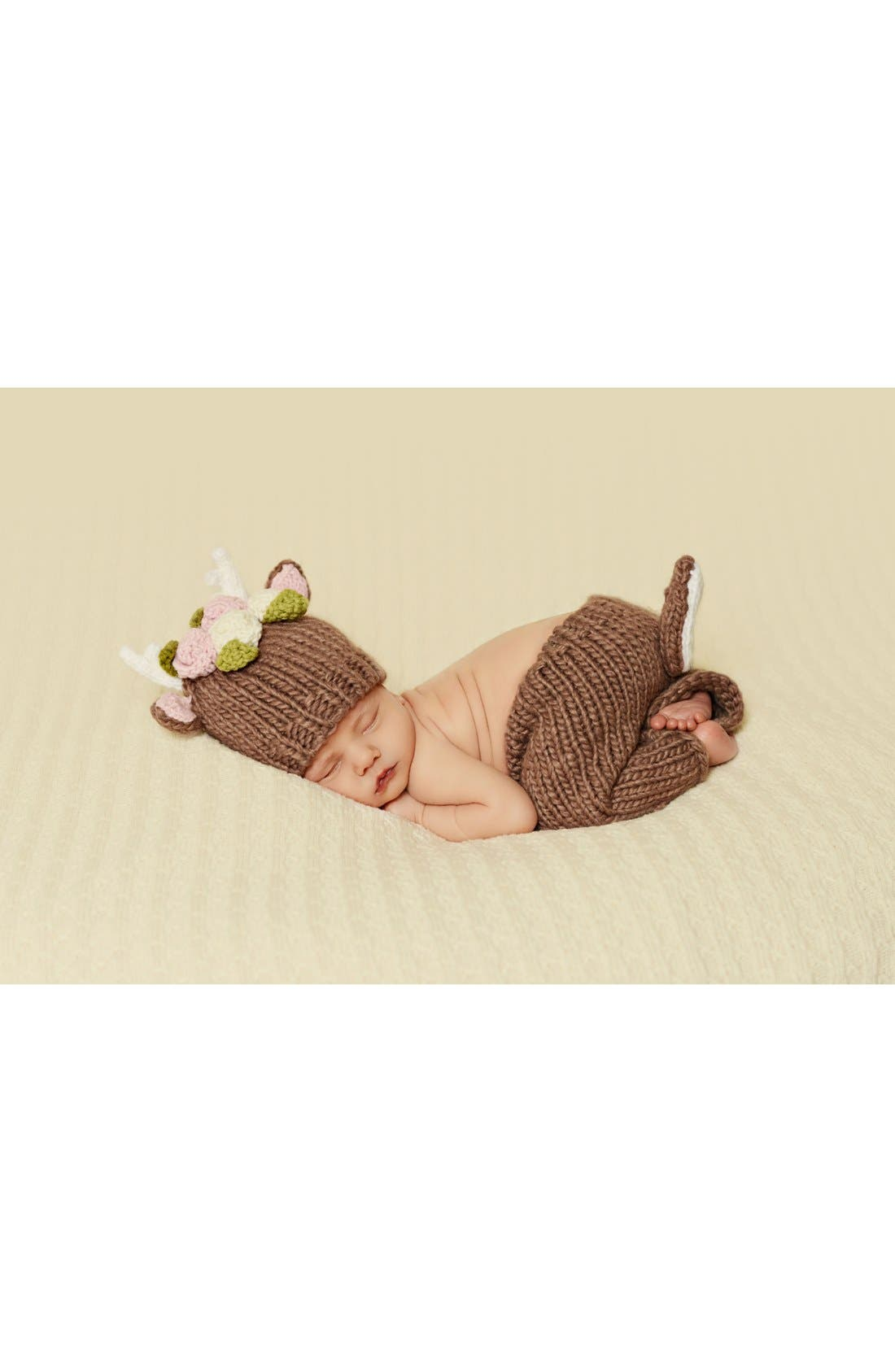 Blueberry Hill 'Hartley - Deer with Flowers' Knit Hat & Pants Set,                             Alternate thumbnail 4, color,                             200