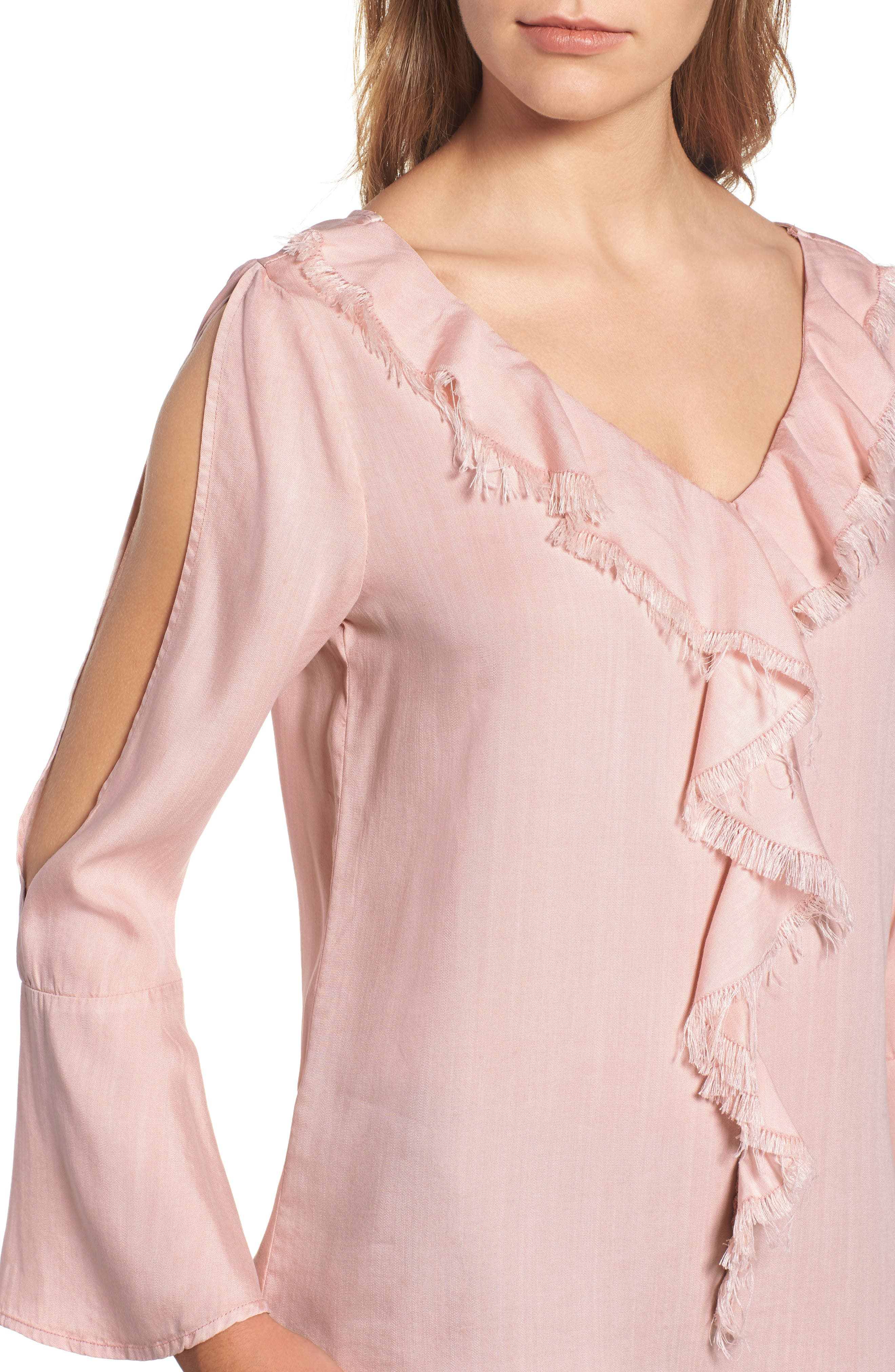 Ruffle Front Top,                             Alternate thumbnail 4, color,                             650