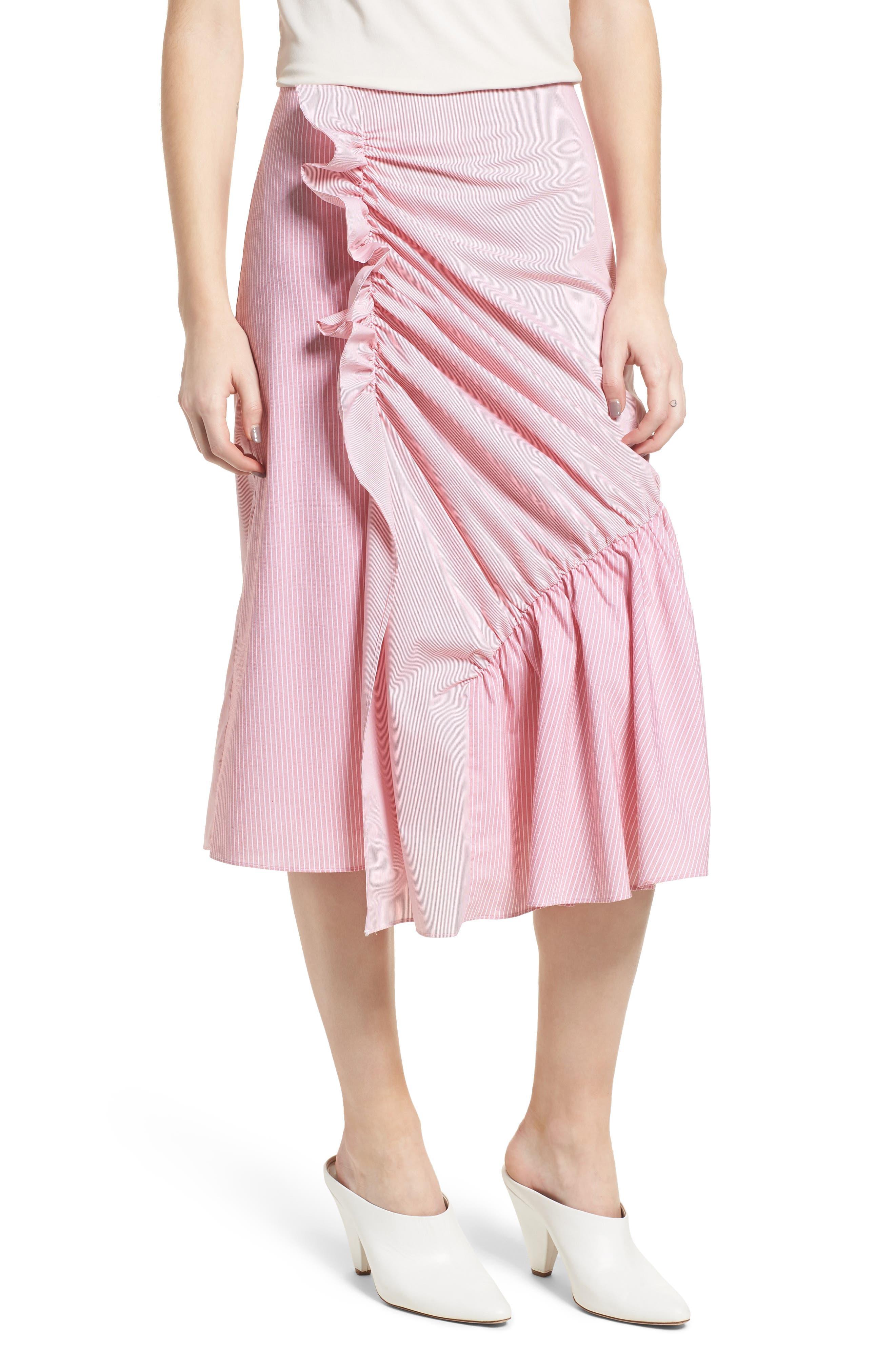 Mixed Stripe Poplin A-Line Skirt,                             Main thumbnail 2, color,