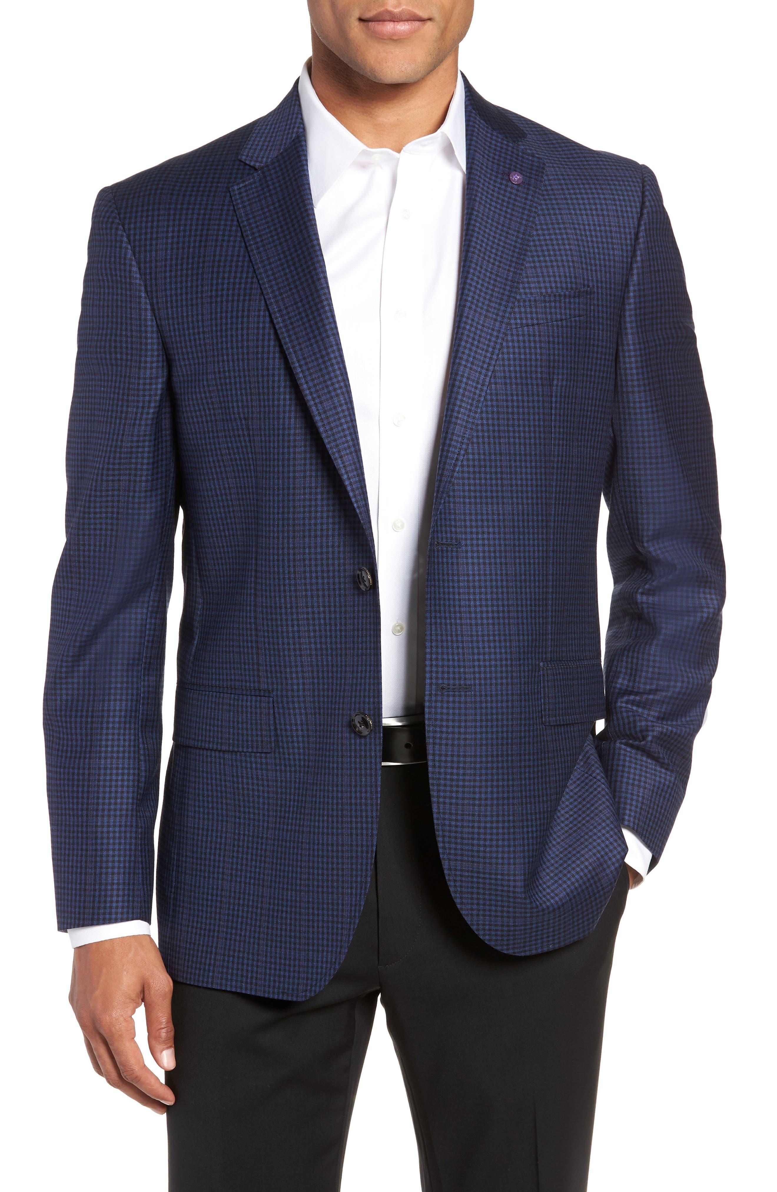 Jay 2B Trim Fit Check Wool Sport Coat,                         Main,                         color, 400