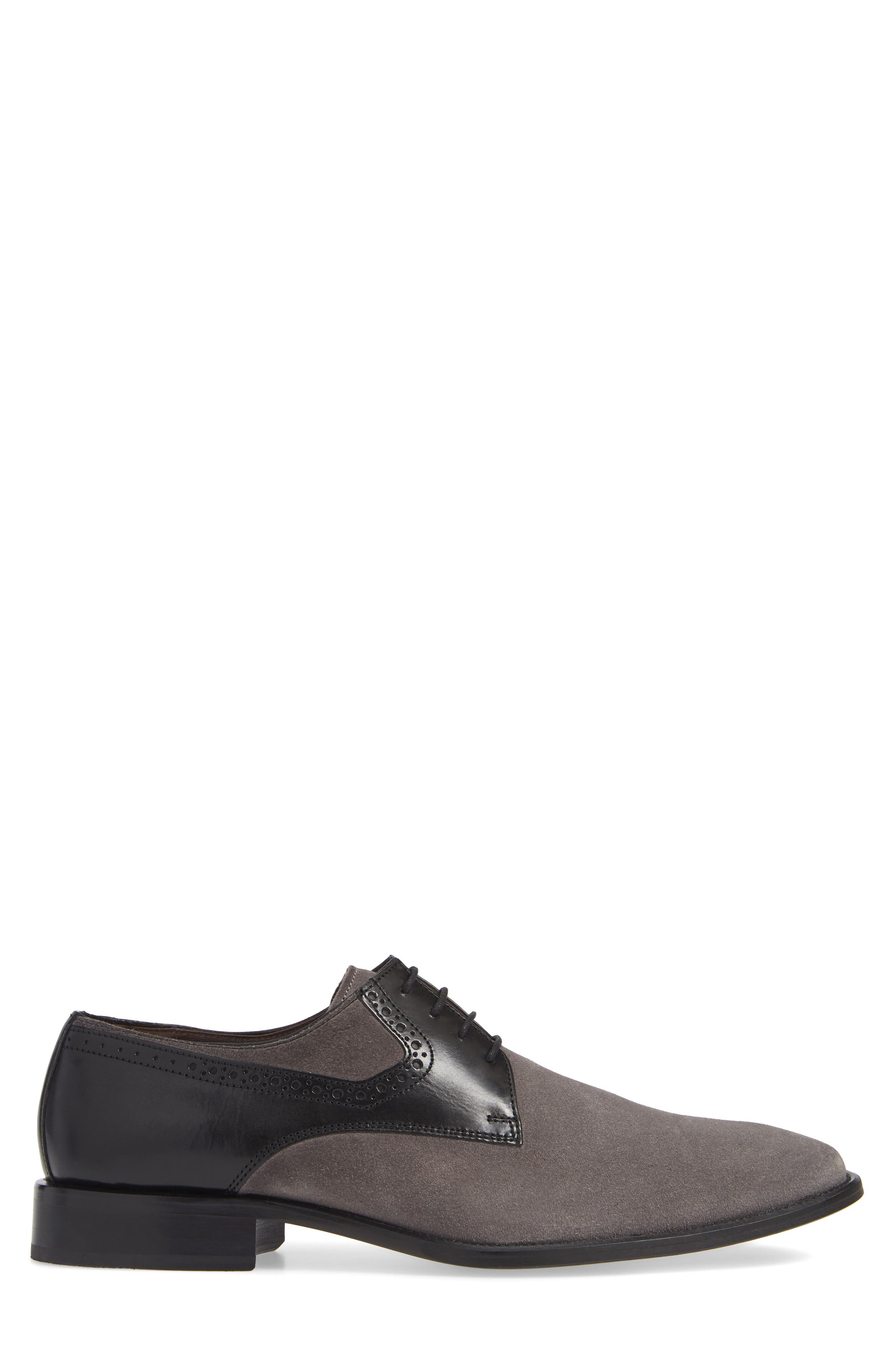 Maxwell Plain Toe Derby,                             Alternate thumbnail 3, color,                             GREY SUEDE