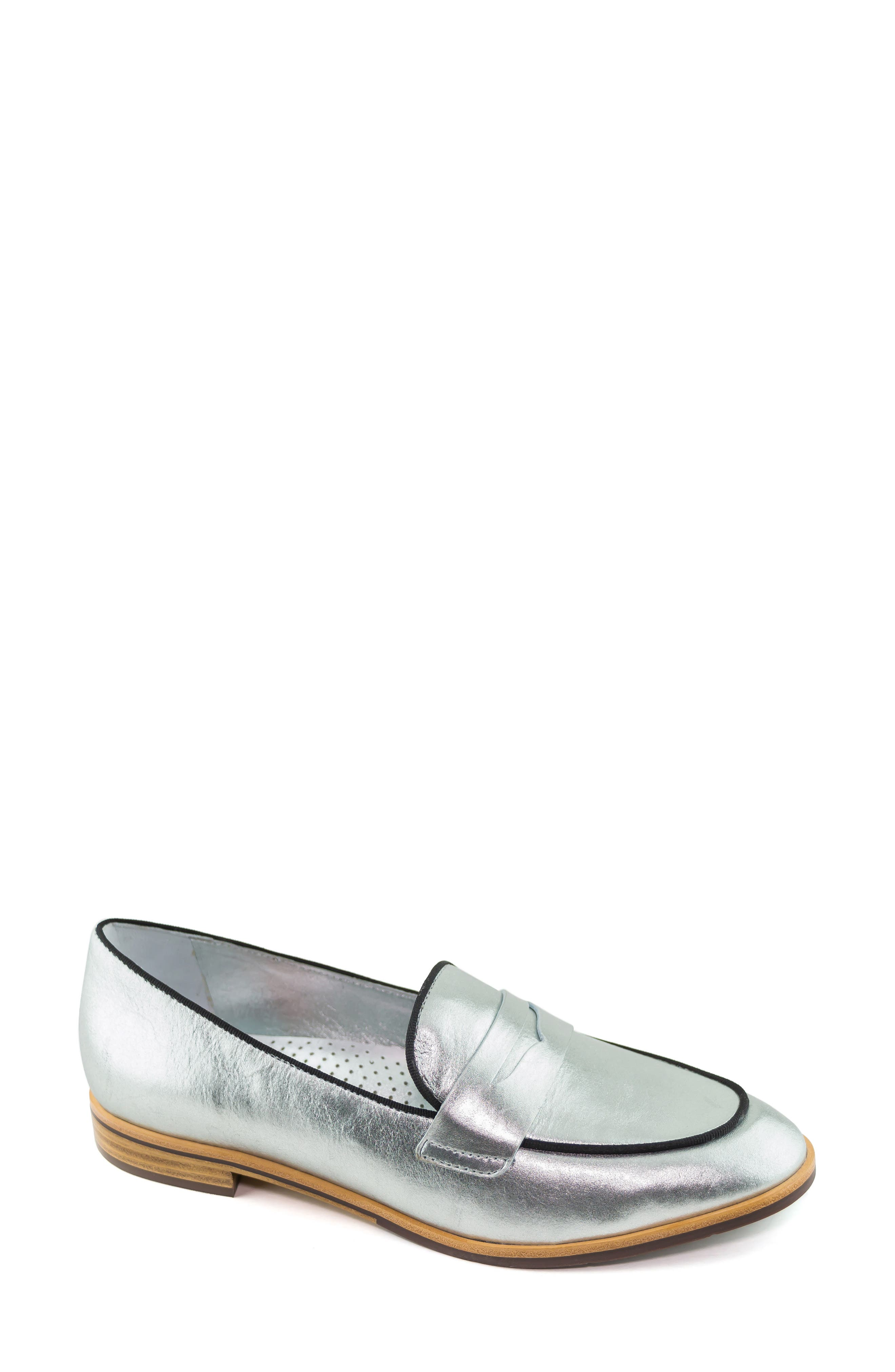 Bryant Park Loafer,                             Main thumbnail 1, color,                             GIPSY SILVER LEATHER