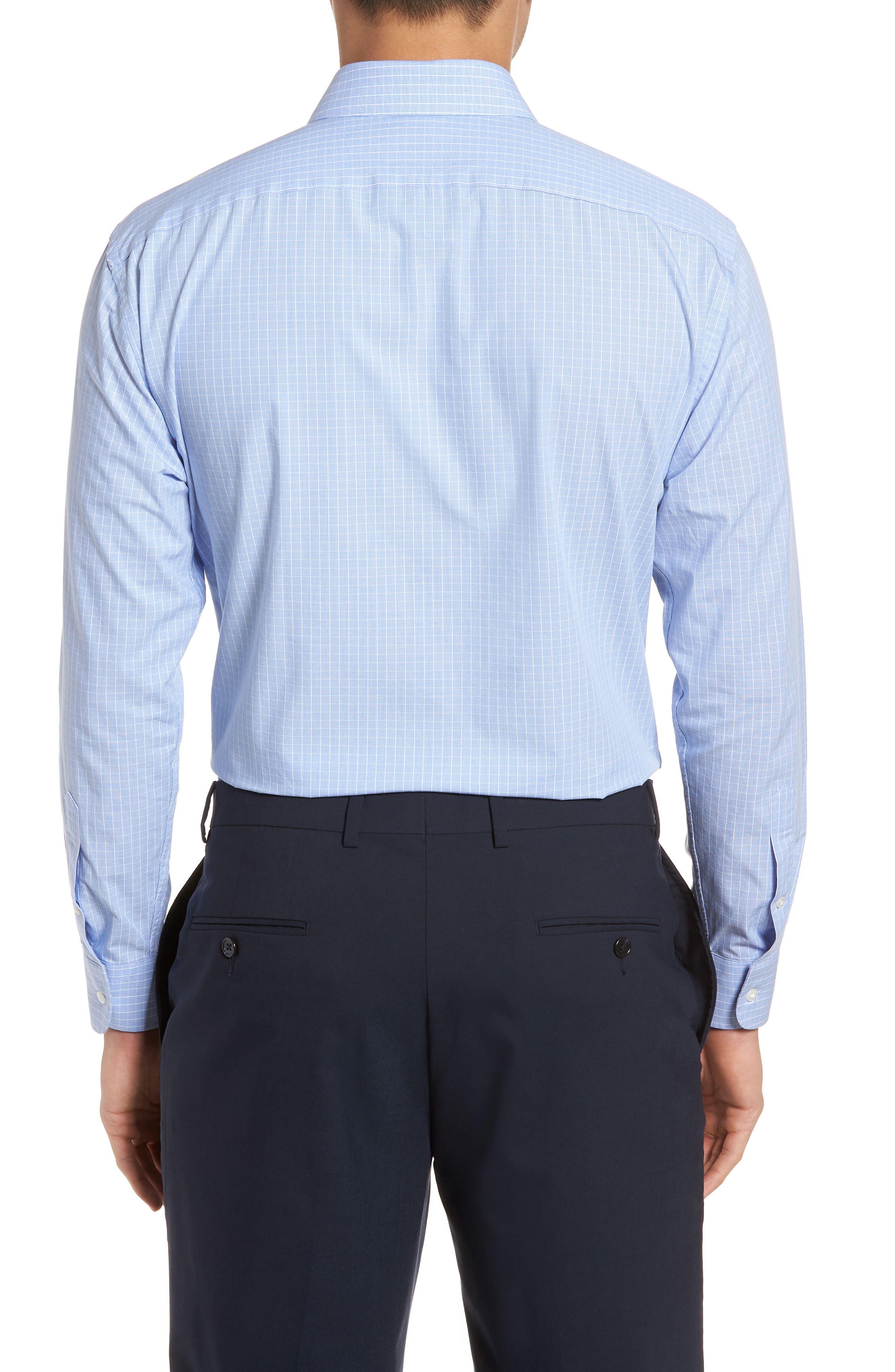 Tech-Smart Trim Fit Stretch Grid Dress Shirt,                             Alternate thumbnail 3, color,                             450