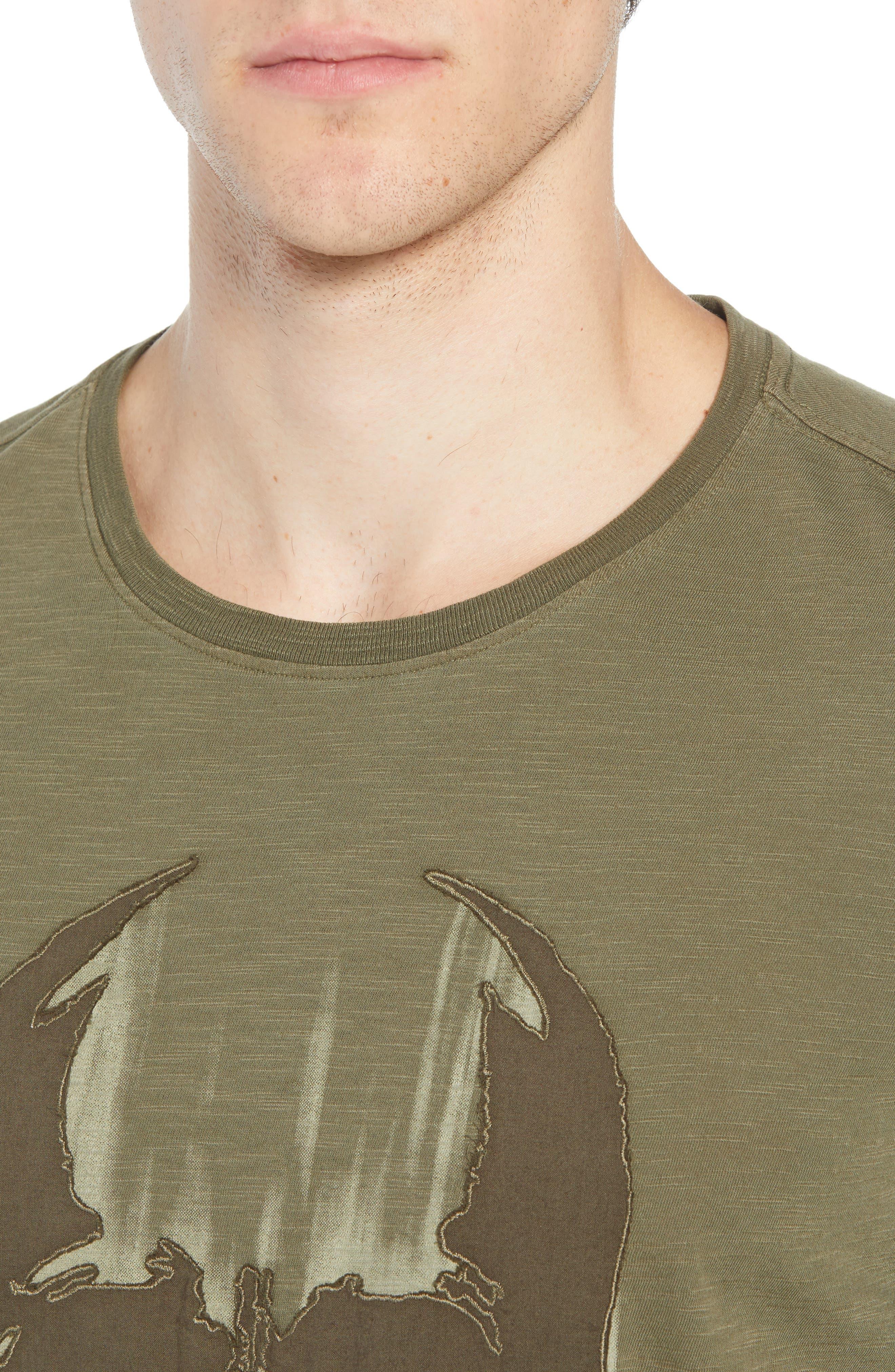 Faded Skull Appliqué T-Shirt,                             Alternate thumbnail 4, color,                             OLIVE