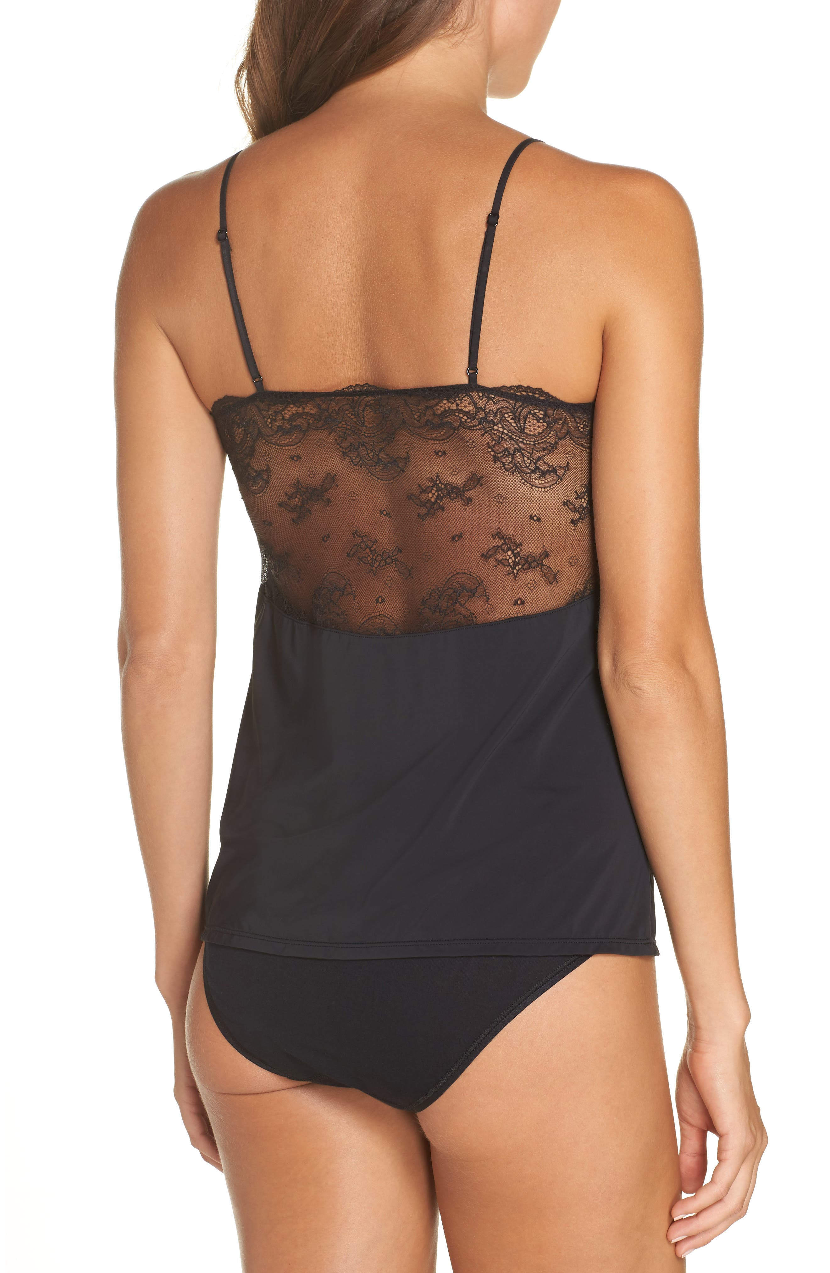 Infinity Lace Back Camisole,                             Alternate thumbnail 2, color,                             BLACK