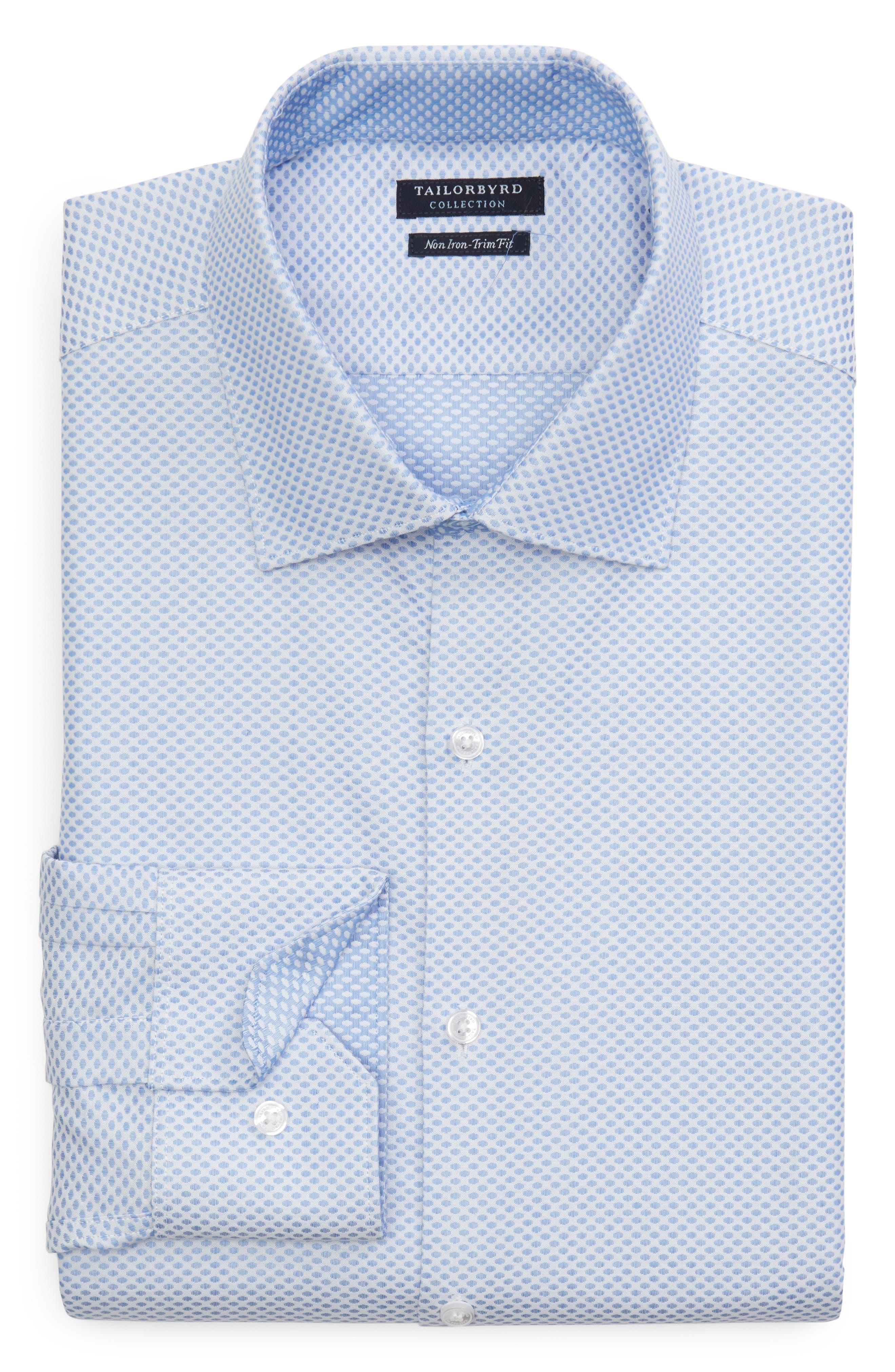 Bigbenn Trim Fit Dot Dress Shirt,                             Alternate thumbnail 5, color,                             BLUE