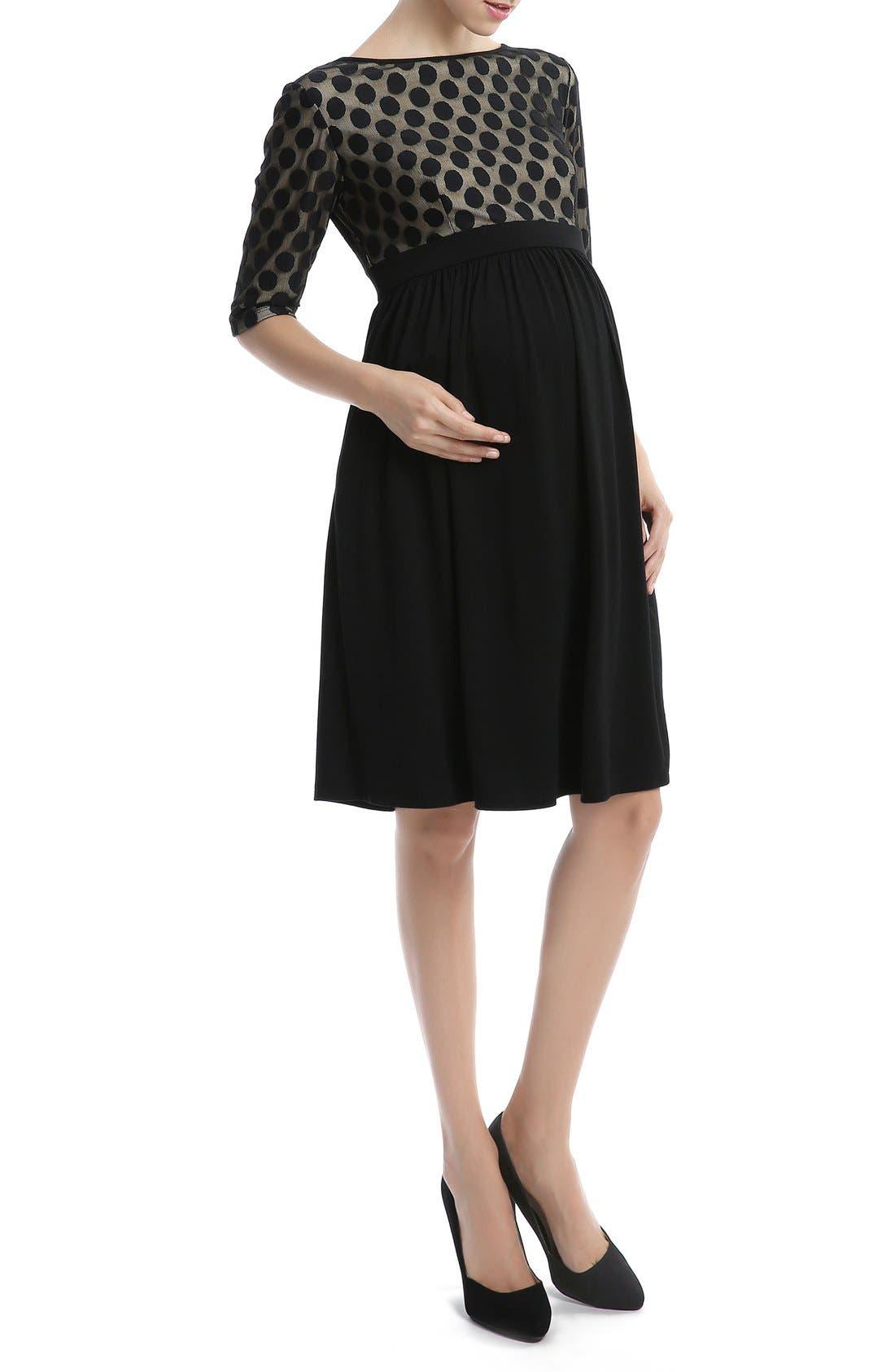 'Charlie' Maternity Dress,                             Alternate thumbnail 4, color,                             001