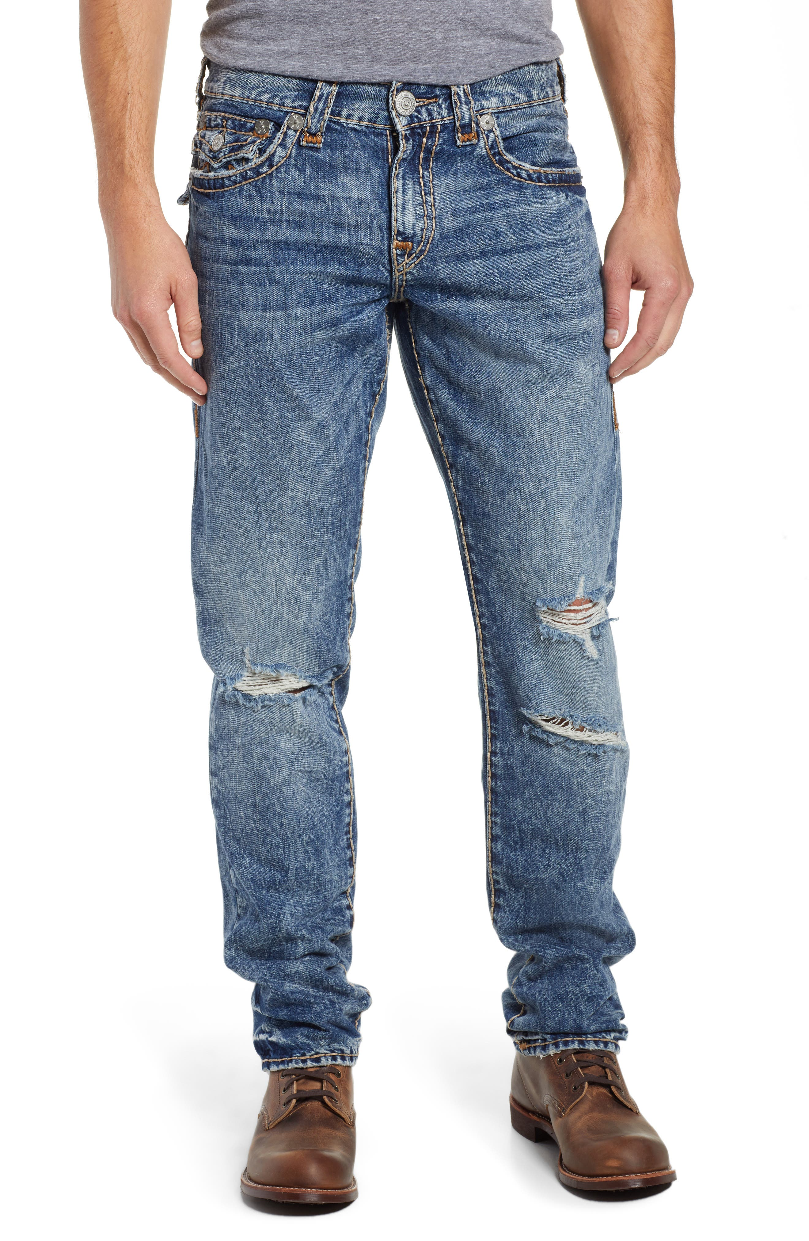 Geno Straight Leg Jeans,                             Main thumbnail 1, color,                             WORN BLUE BLUFF