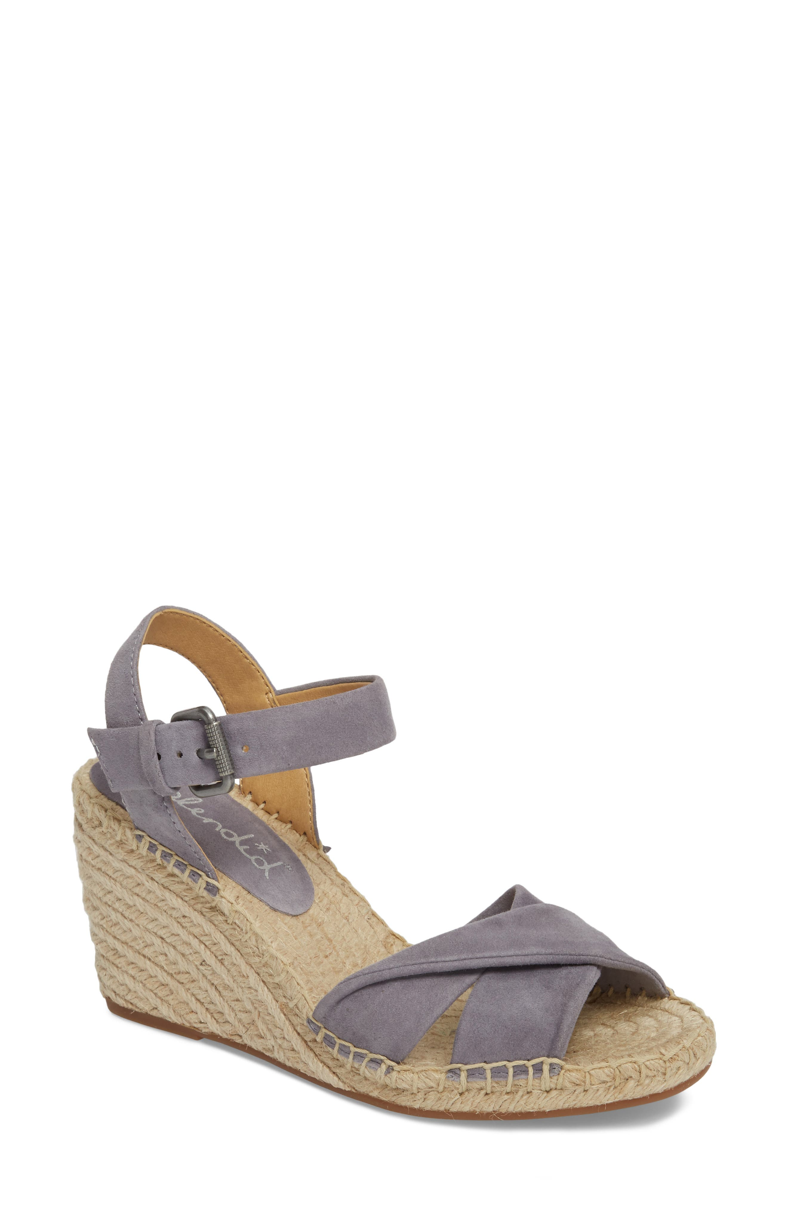 Fairfax Espadrille Wedge Sandal,                         Main,                         color, STEEL GREY SUEDE