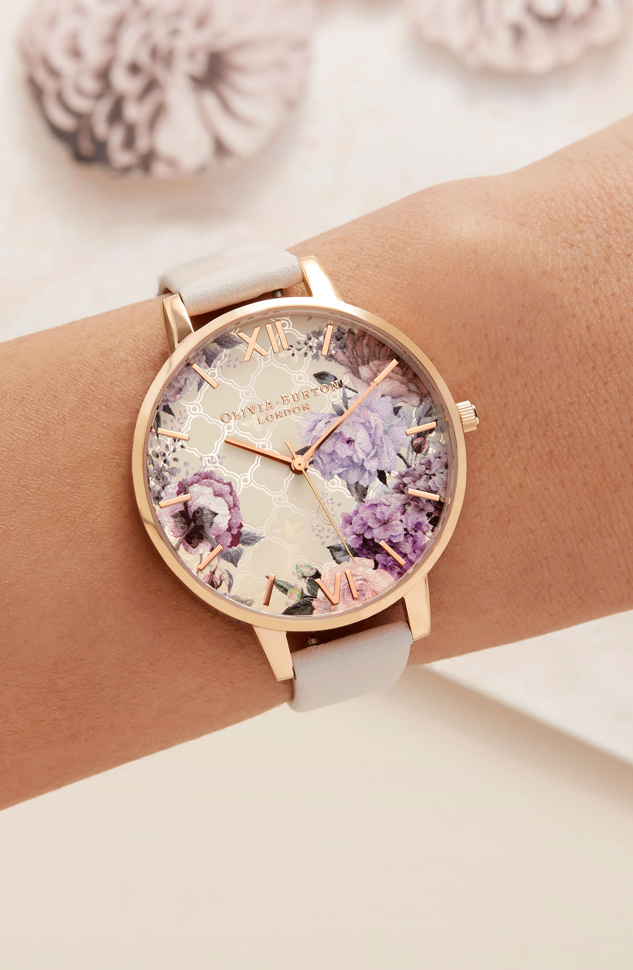 Glasshouse Leather Strap Watch, 38mm,                             Alternate thumbnail 6, color,                             BLUSH/ FLORAL/ ROSE GOLD