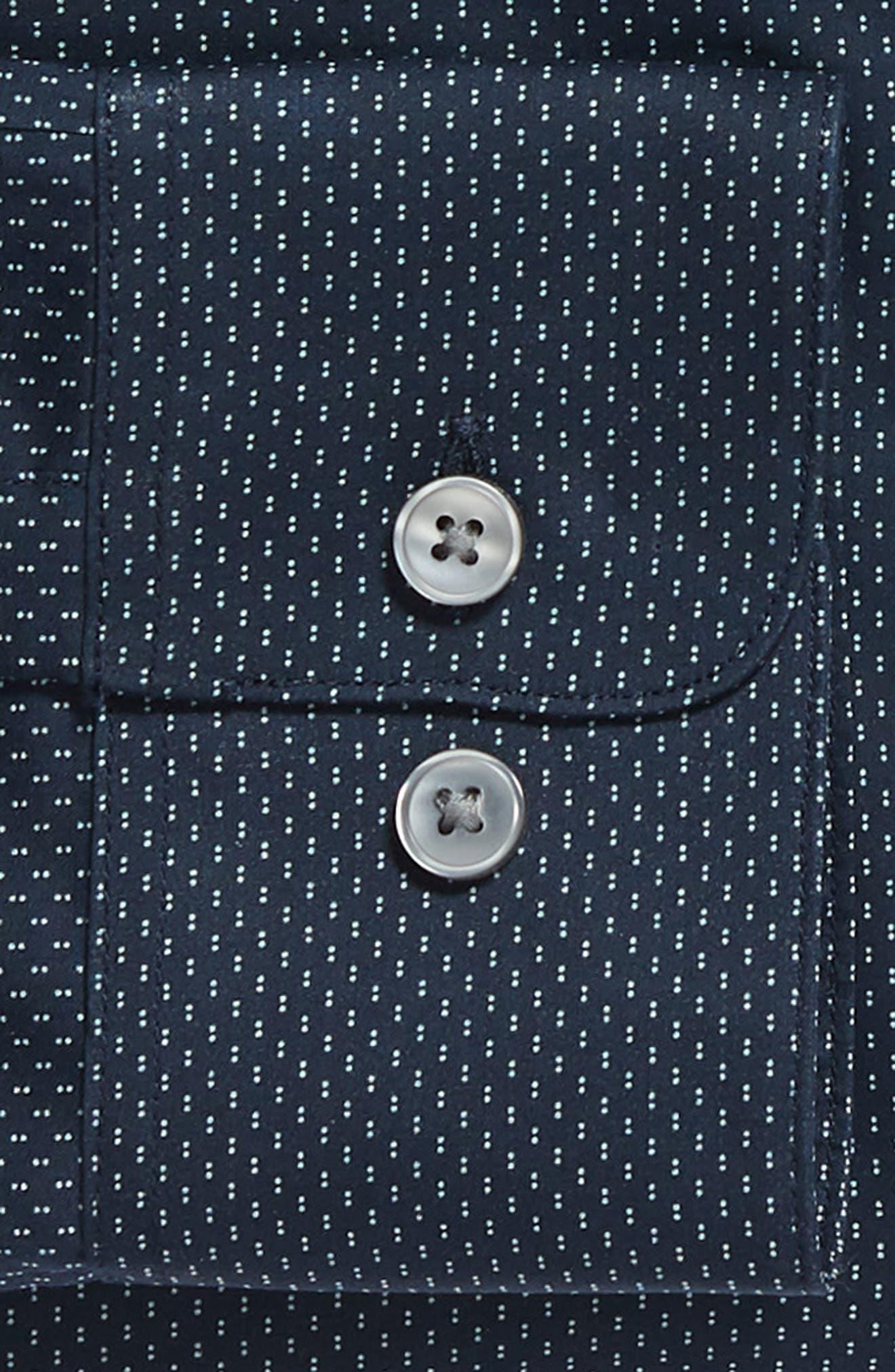 Regular Fit Dot Dress Shirt,                             Alternate thumbnail 6, color,                             INDIGO