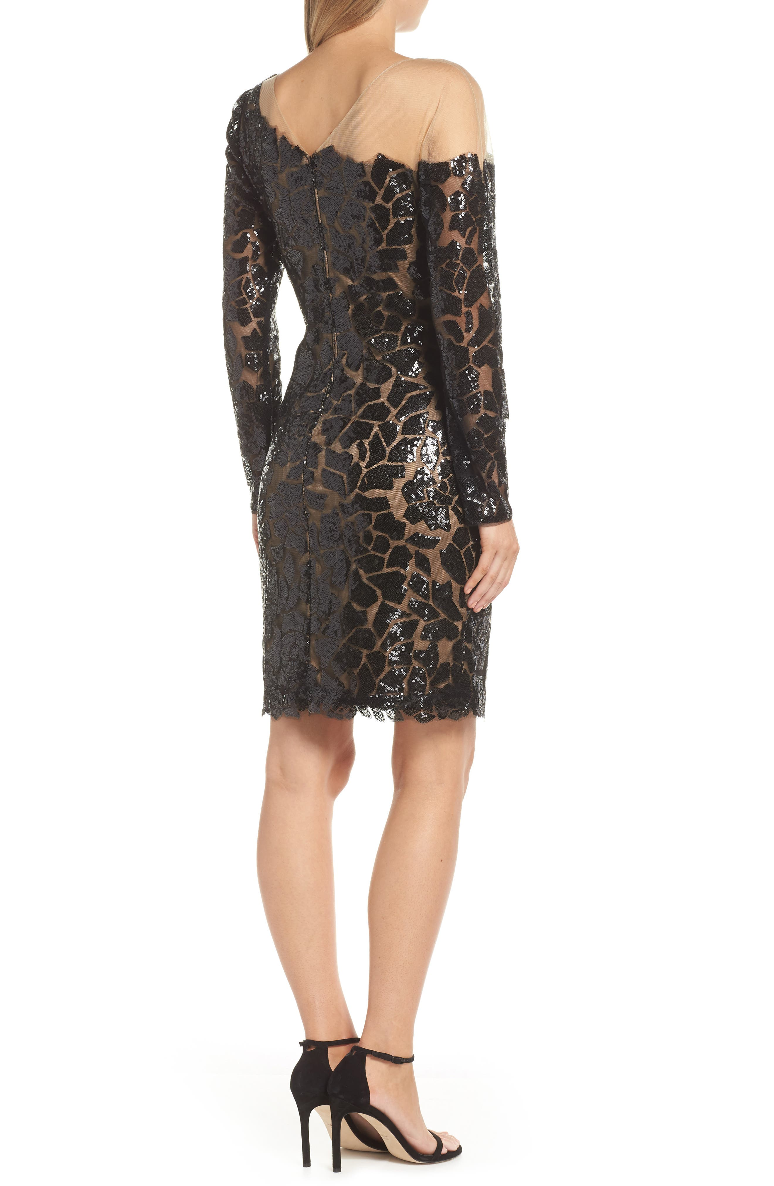 Sequin Illusion Body-Con Dress,                             Alternate thumbnail 2, color,                             BLACK/ NUDE