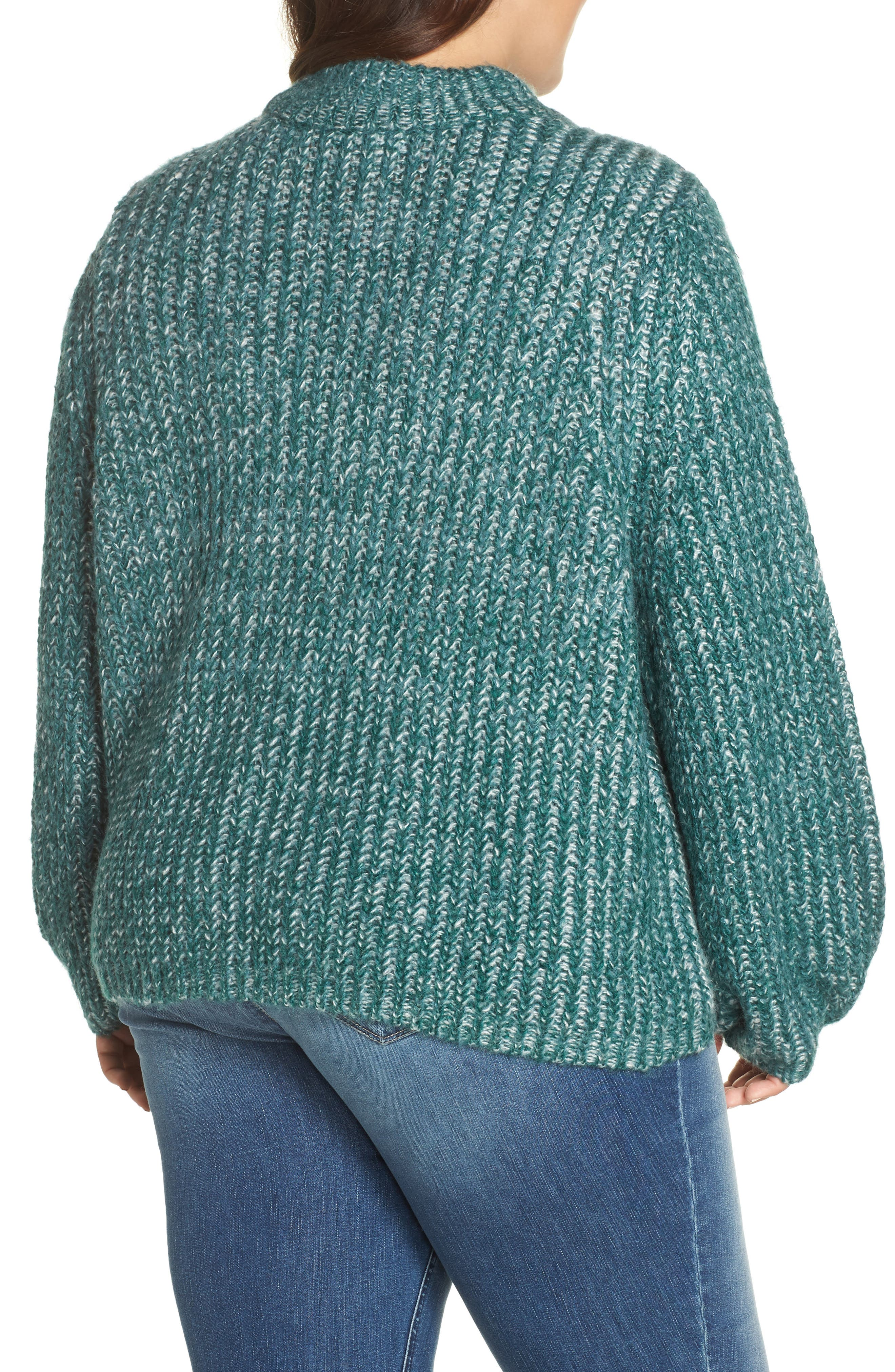 Marl Knit Sweater,                             Alternate thumbnail 2, color,                             TEAL HYDRO