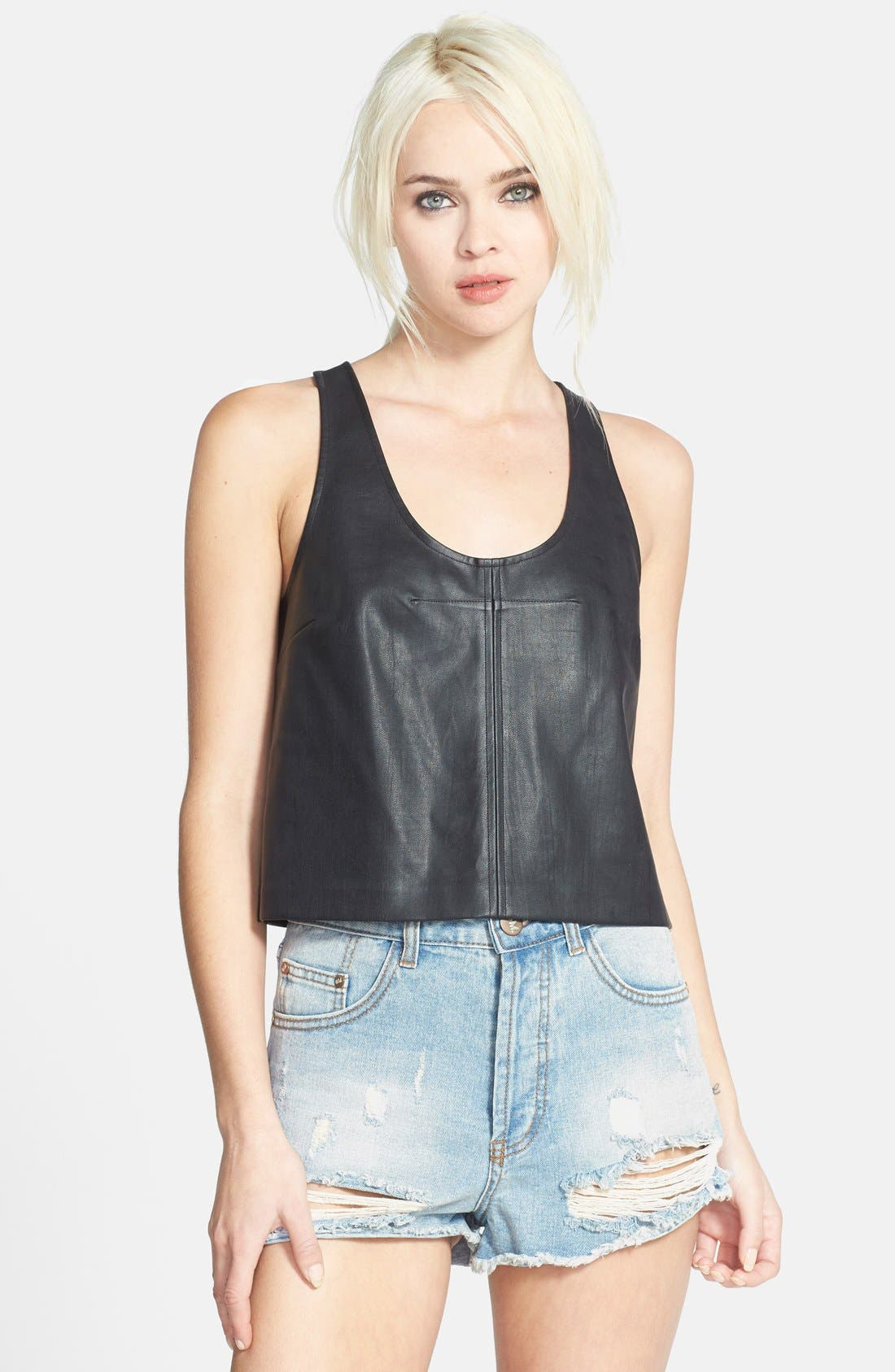 Faux Leather Tank,                             Main thumbnail 1, color,                             001