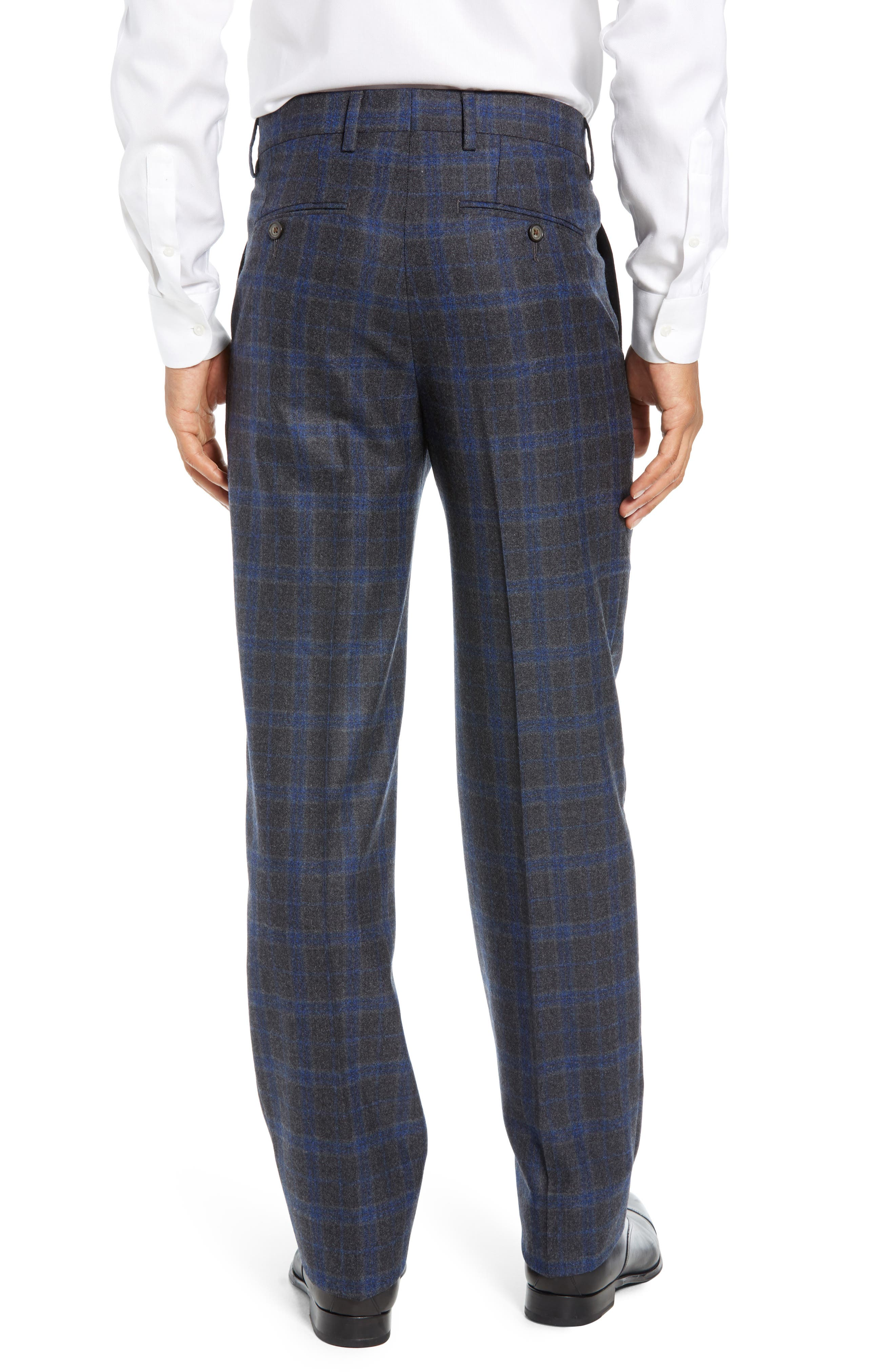 Manufacturing Flat Front Plaid Wool Trousers,                             Alternate thumbnail 2, color,                             021