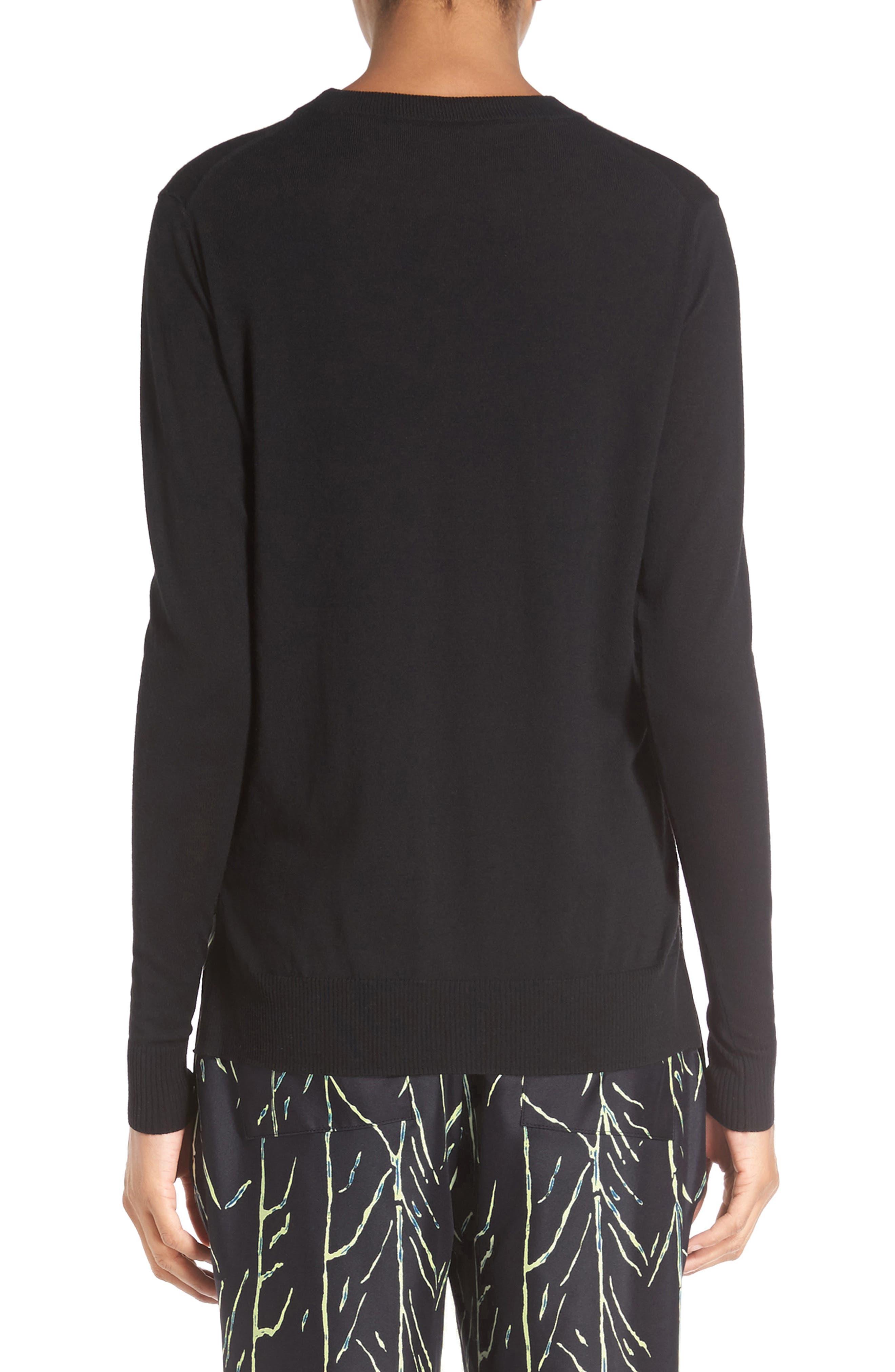 Superfine Merino Wool Sweater,                             Alternate thumbnail 3, color,                             001