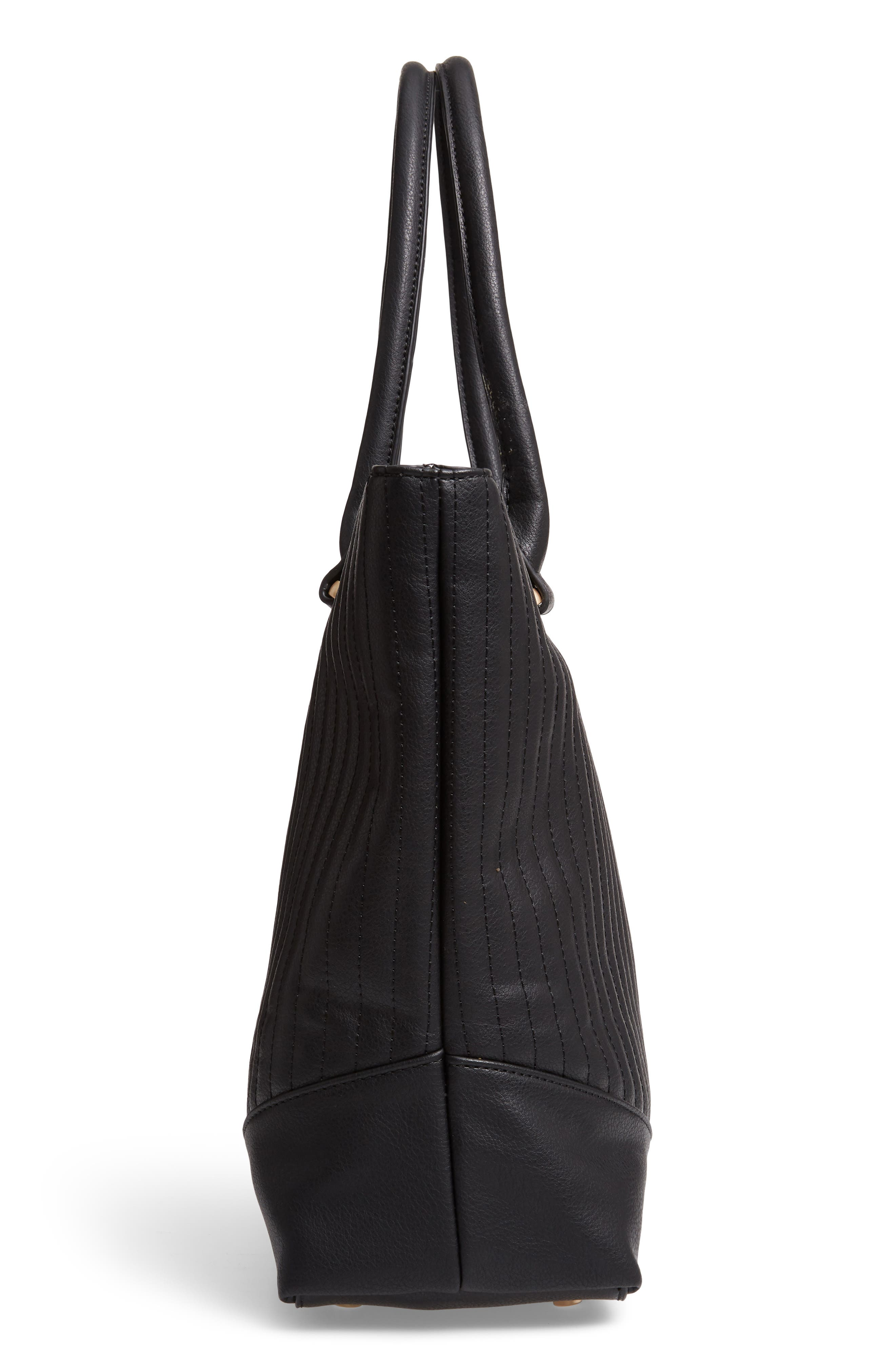 Urche Quilted Faux Leather Tote,                             Alternate thumbnail 5, color,                             BLACK