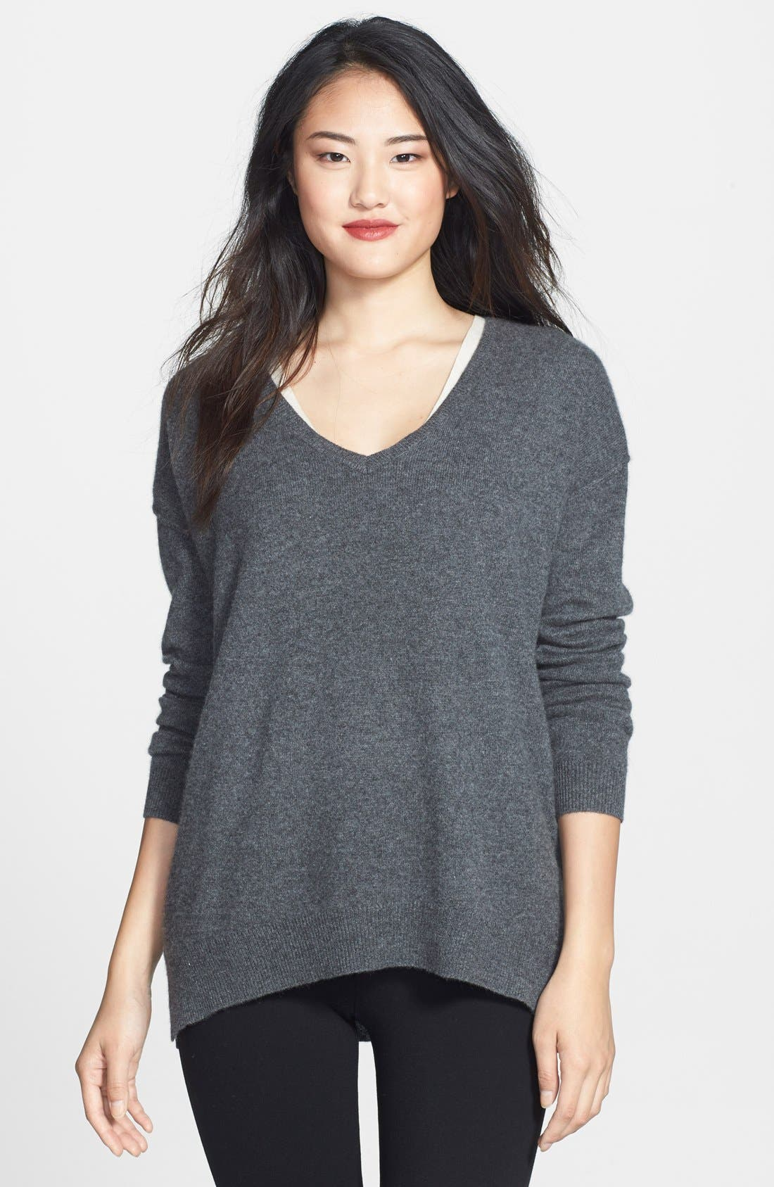 High/Low Cashmere V-Neck Tunic,                             Alternate thumbnail 5, color,                             021