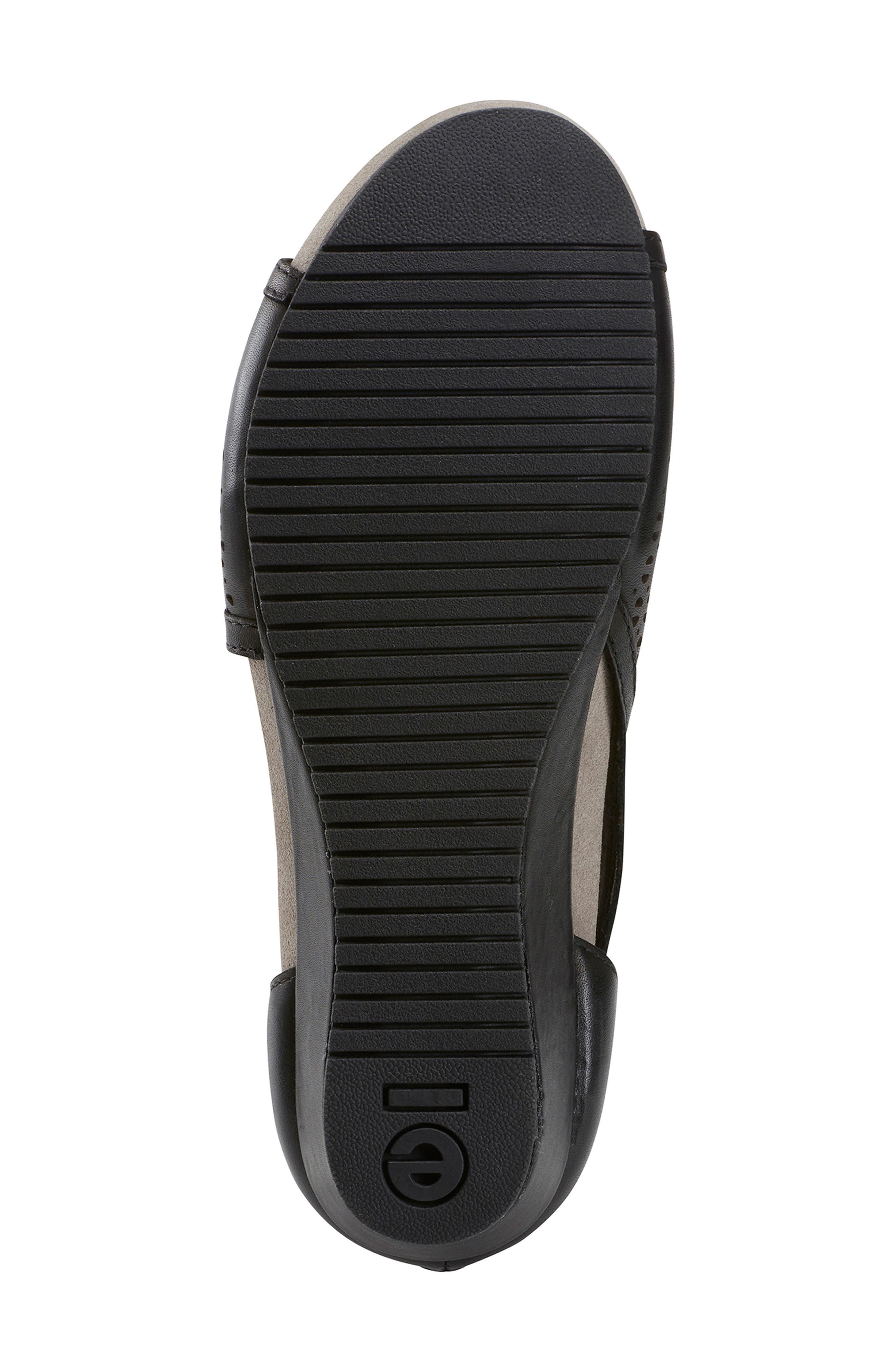 Capricorn Wedge Sandal,                             Alternate thumbnail 6, color,                             BLACK LEATHER