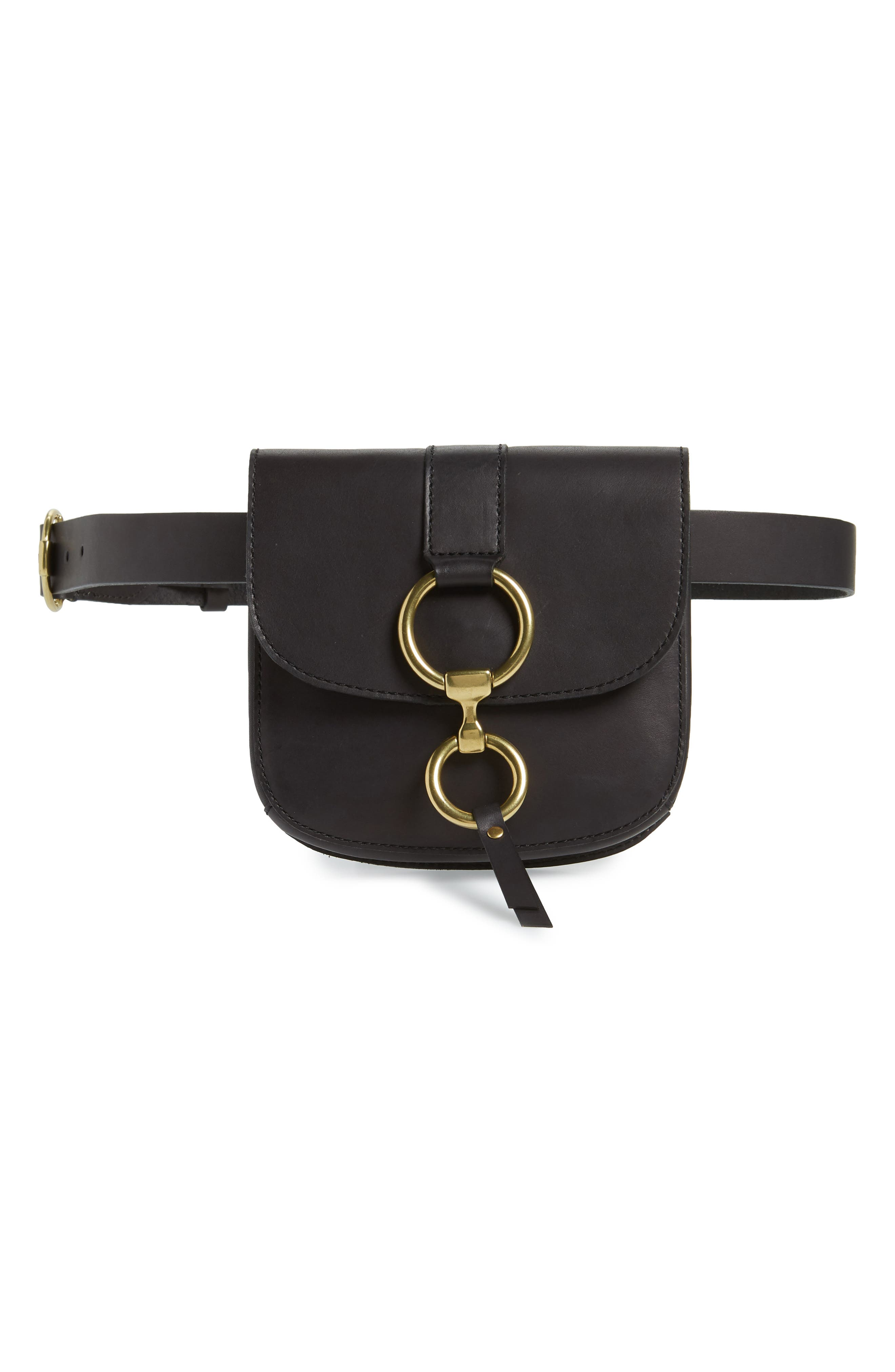Leather Belt Bag,                         Main,                         color, BLACK/ ECRU STITCH