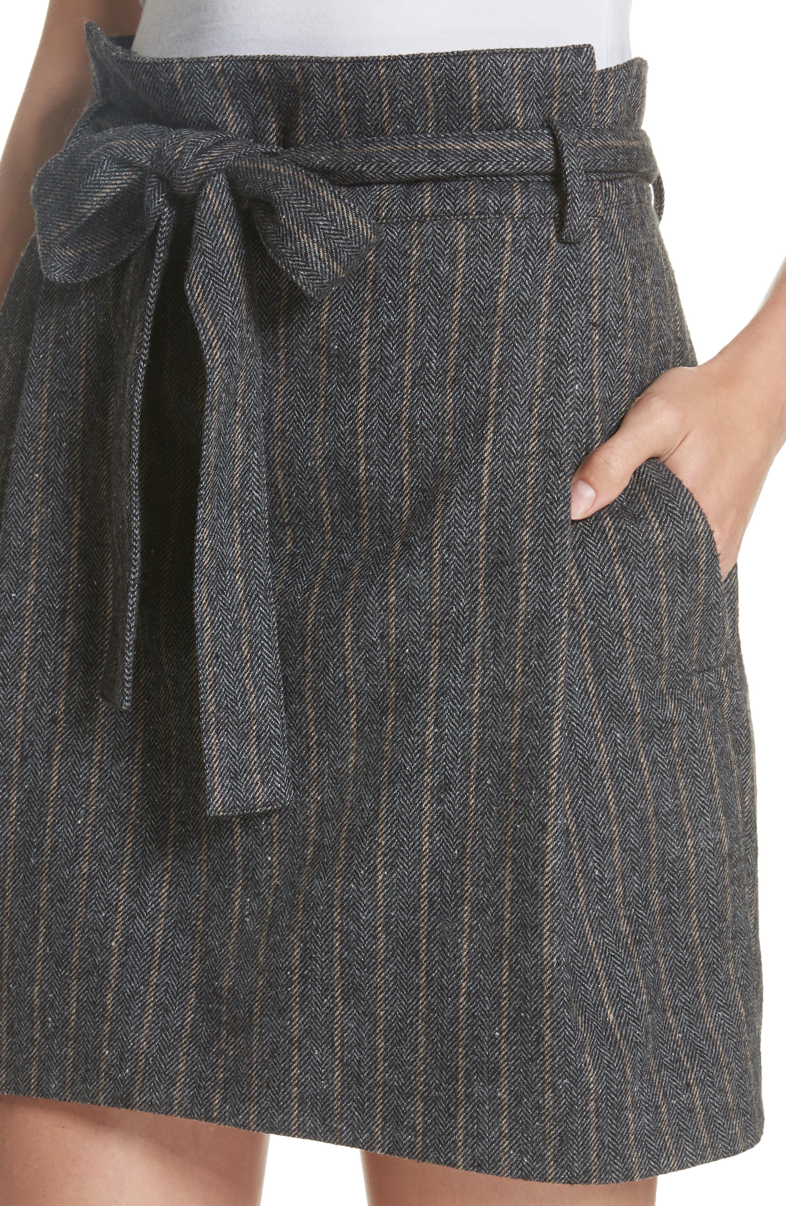Leo Paperbag Waist Wool & Silk Blend Skirt,                             Alternate thumbnail 4, color,                             ASH