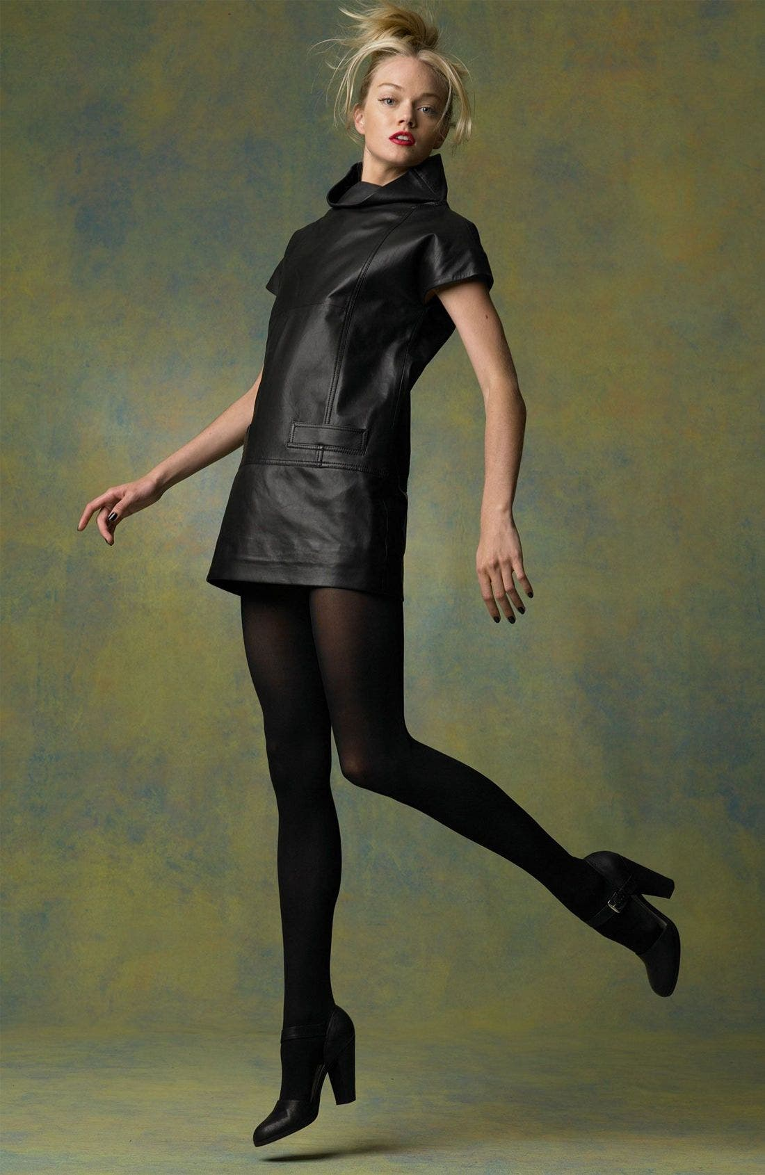 MARC BY MARC JACOBS,                             Leather Funnel Neck Minidress,                             Alternate thumbnail 3, color,                             001