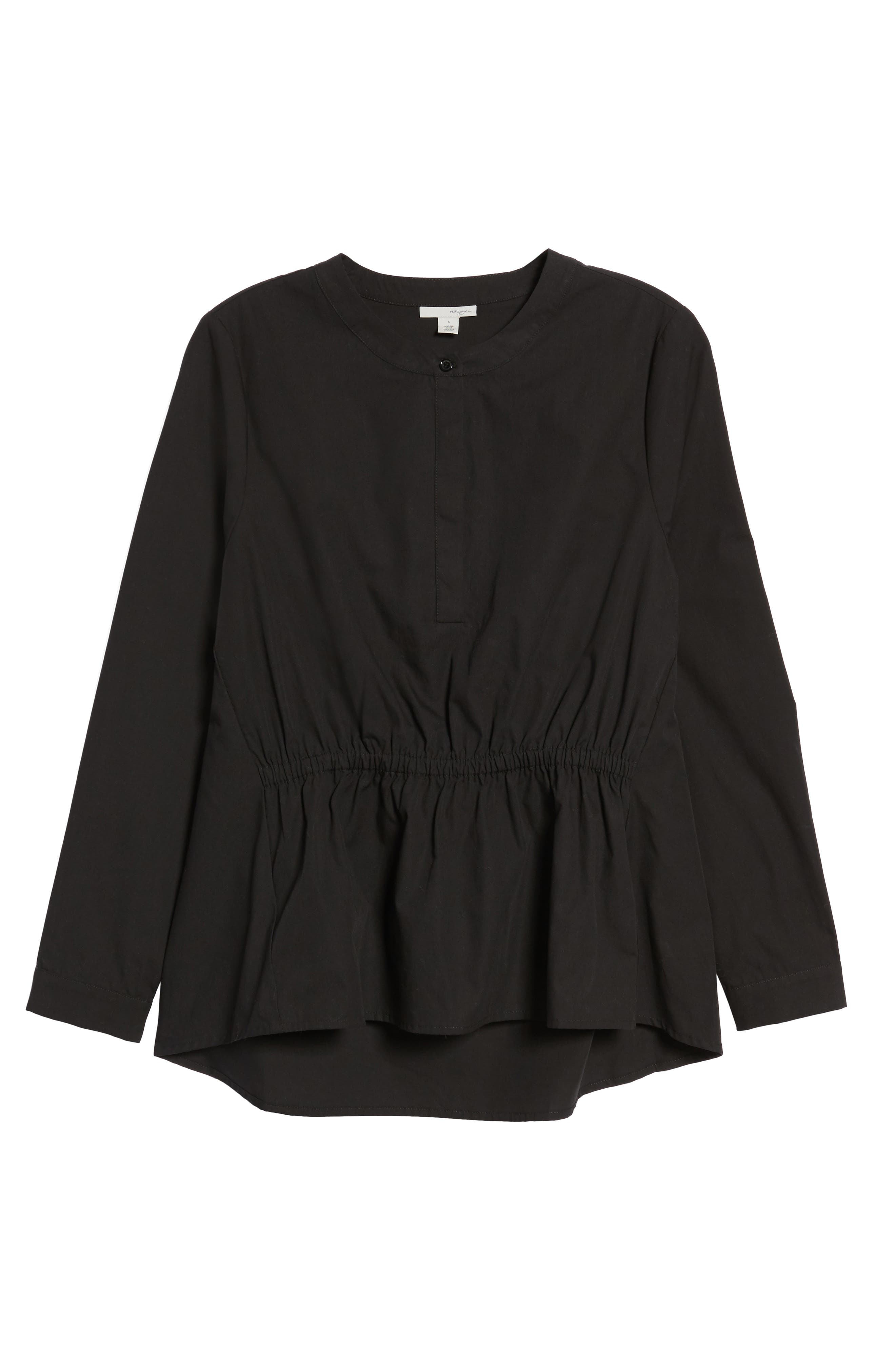 Cinched Front Peplum Top,                             Alternate thumbnail 6, color,                             001