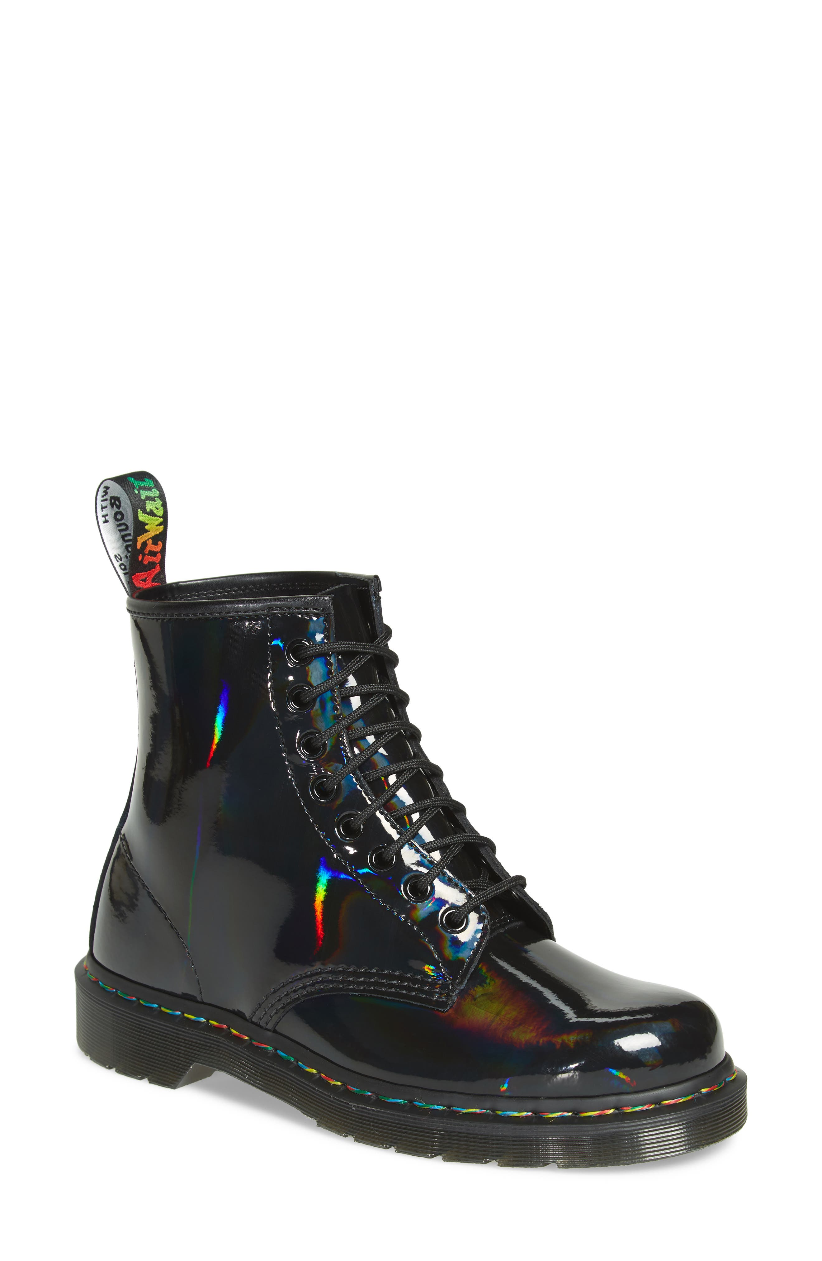 1460 Rainbow Patent Boot, Main, color, 001