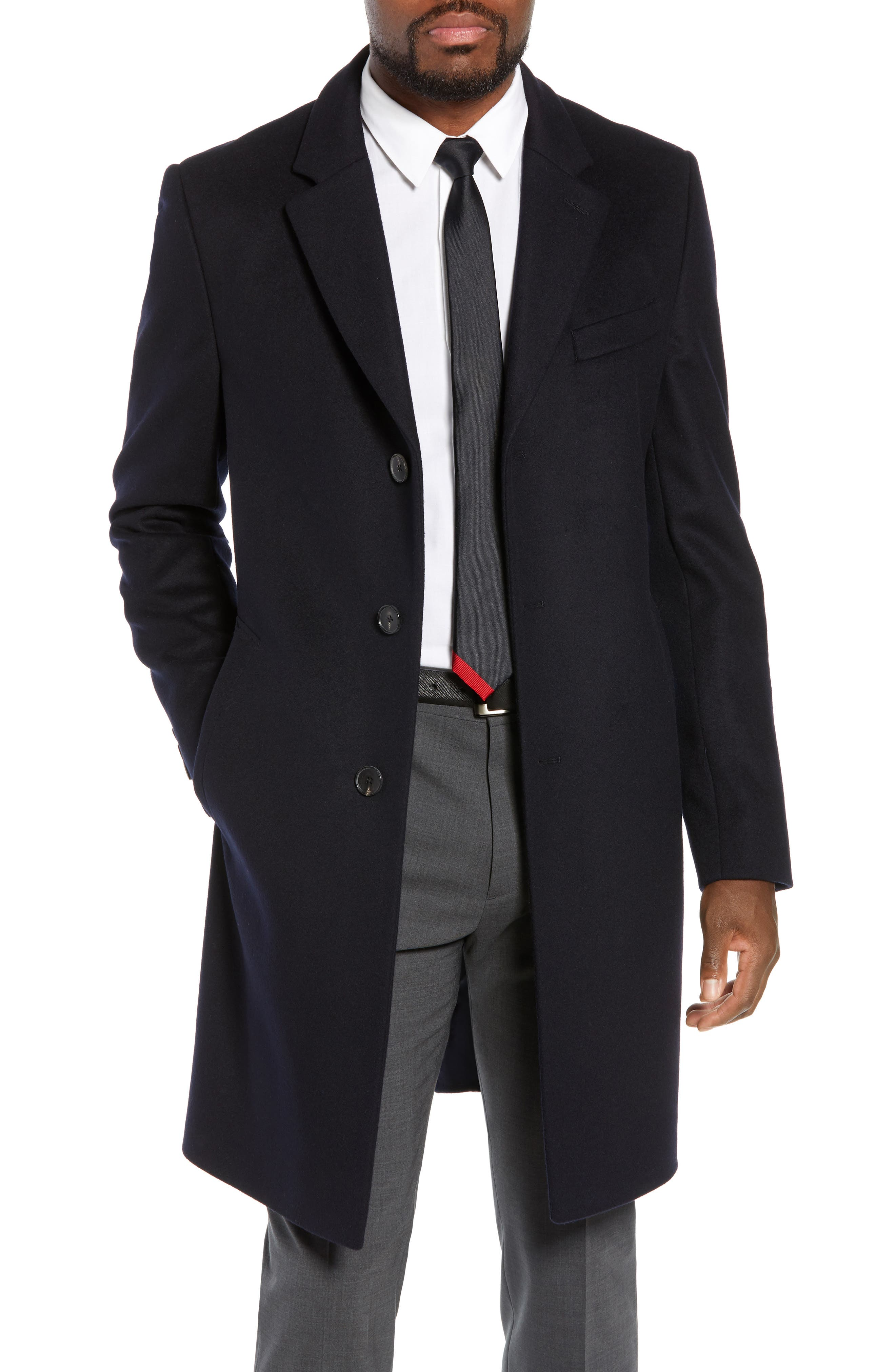BOSS,                             Nye Regular Fit Solid Wool & Cashmere Topcoat,                             Main thumbnail 1, color,                             DARK BLUE