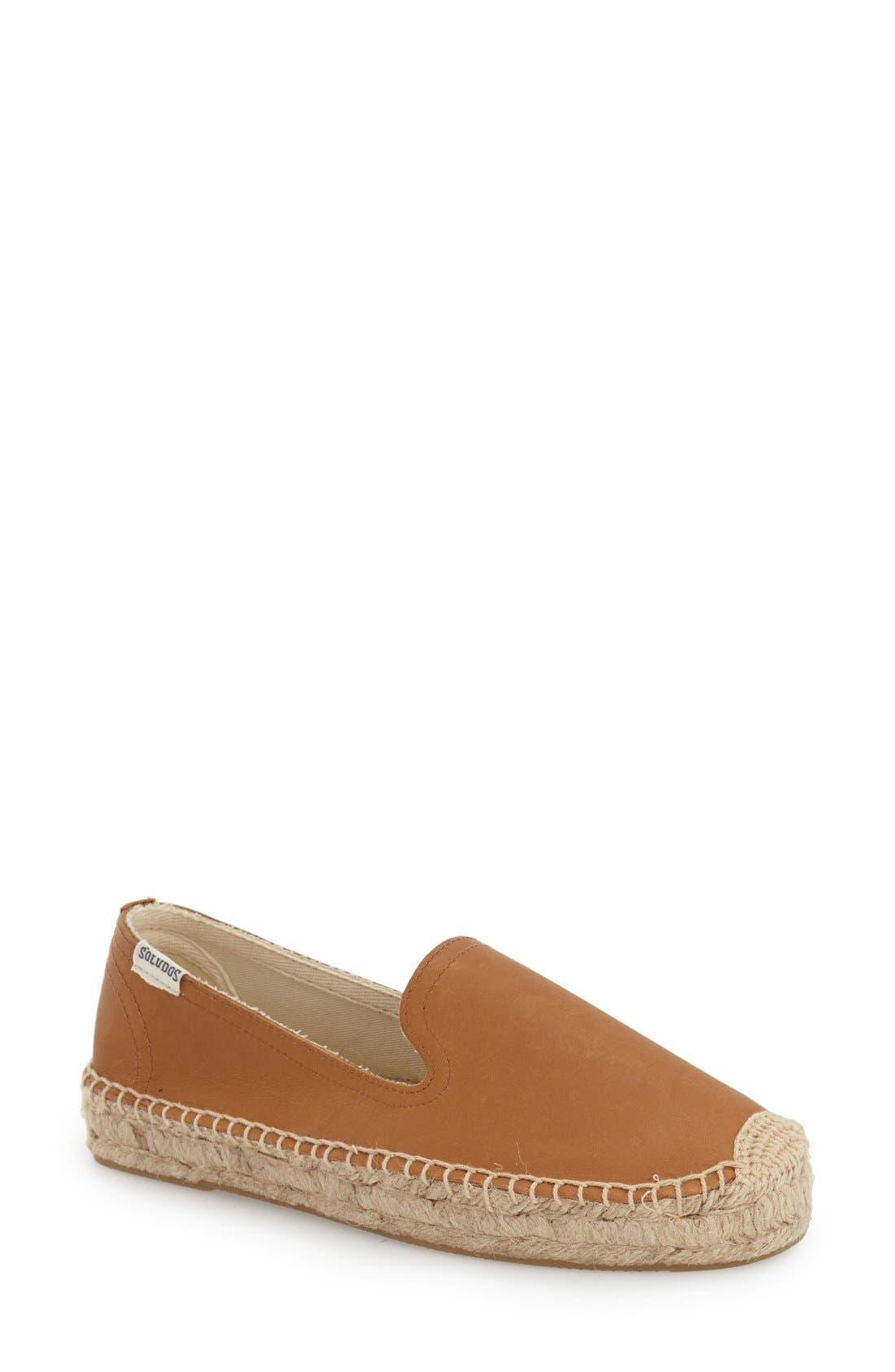 'Smoking' Espadrille Platform Shoe,                             Main thumbnail 1, color,                             TAN LEATHER