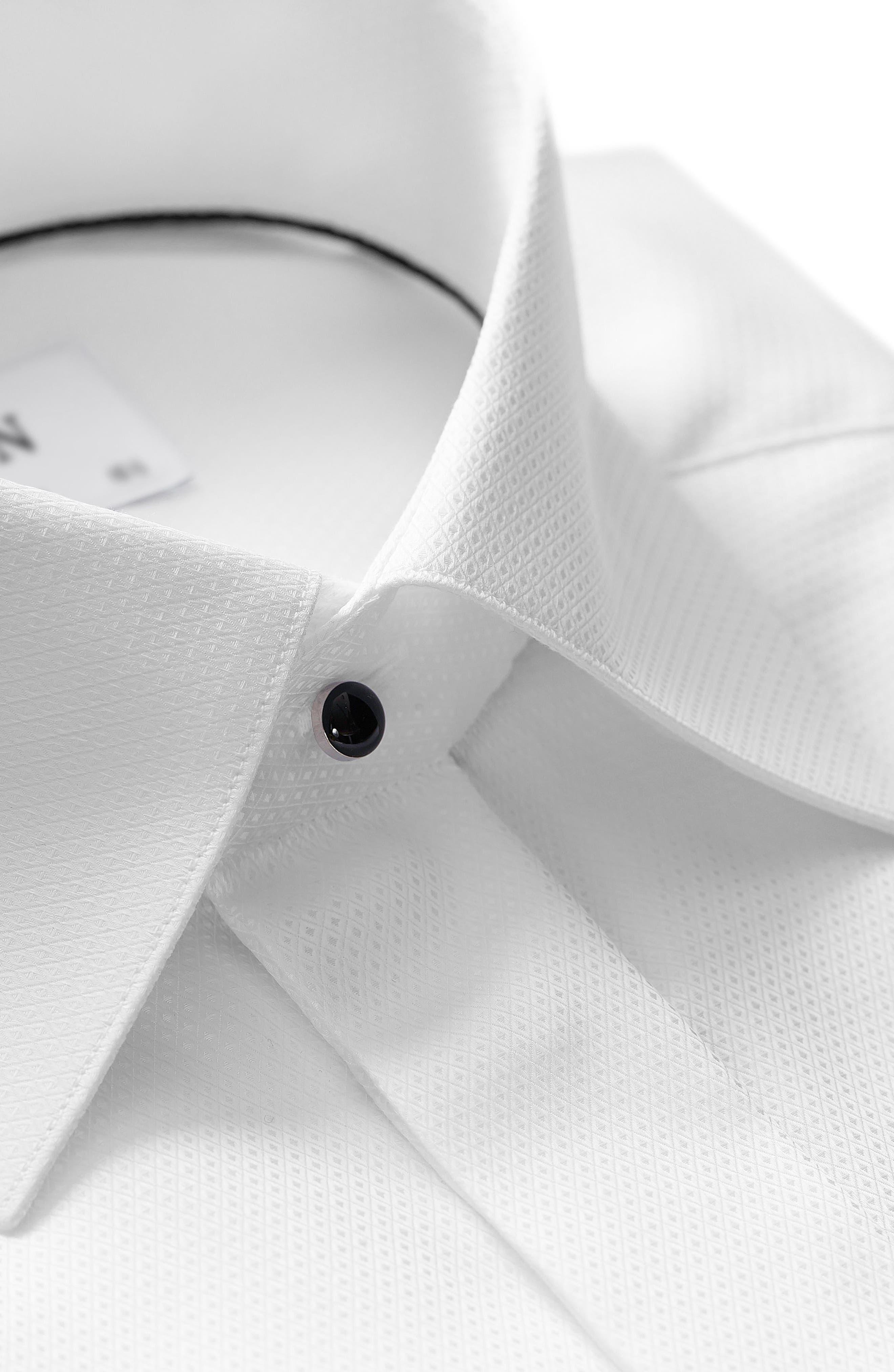 Slim Fit Textured Formal Dress Shirt,                             Alternate thumbnail 2, color,                             WHITE