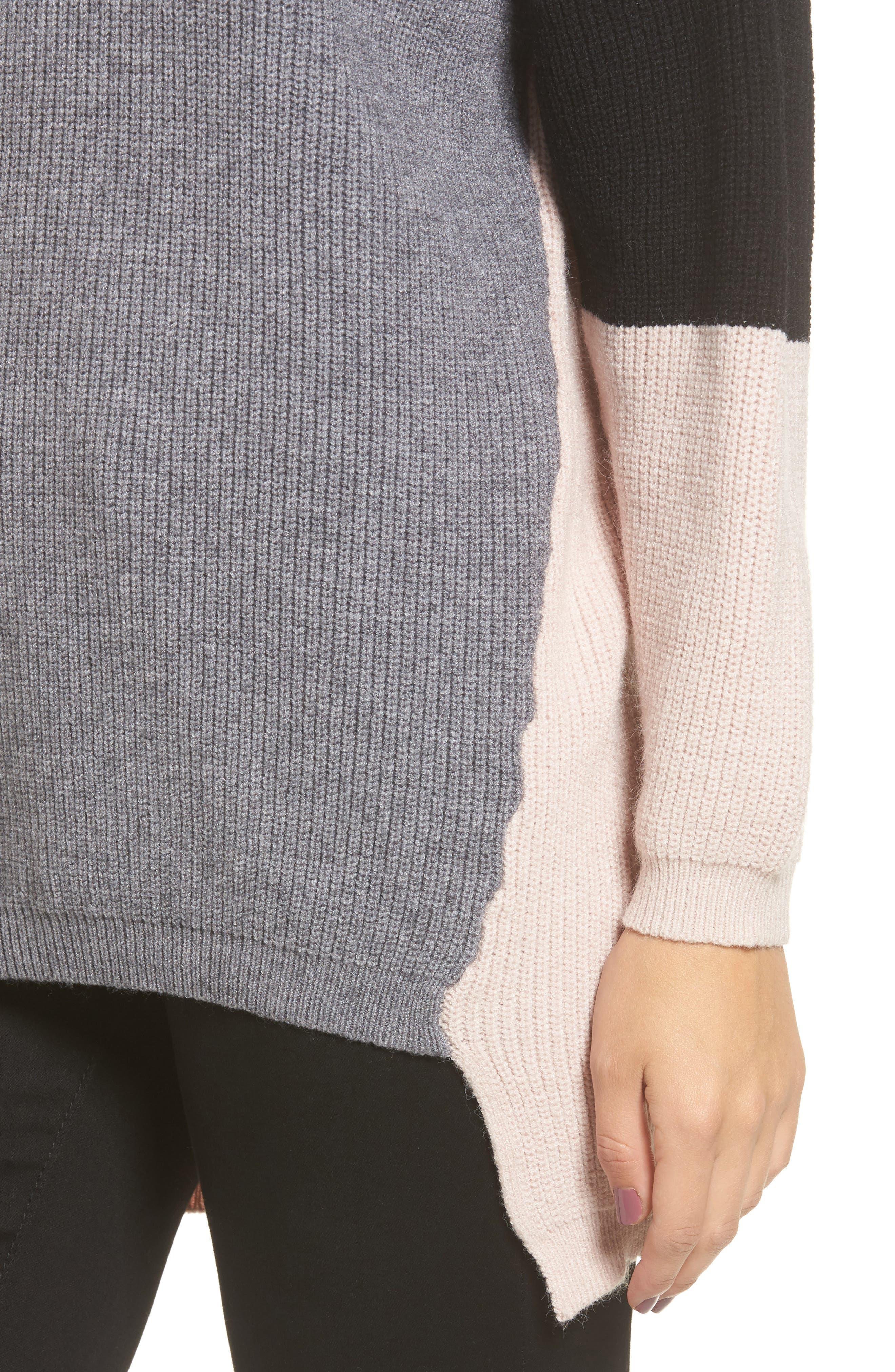 Colorblock Tunic Sweater,                             Alternate thumbnail 4, color,